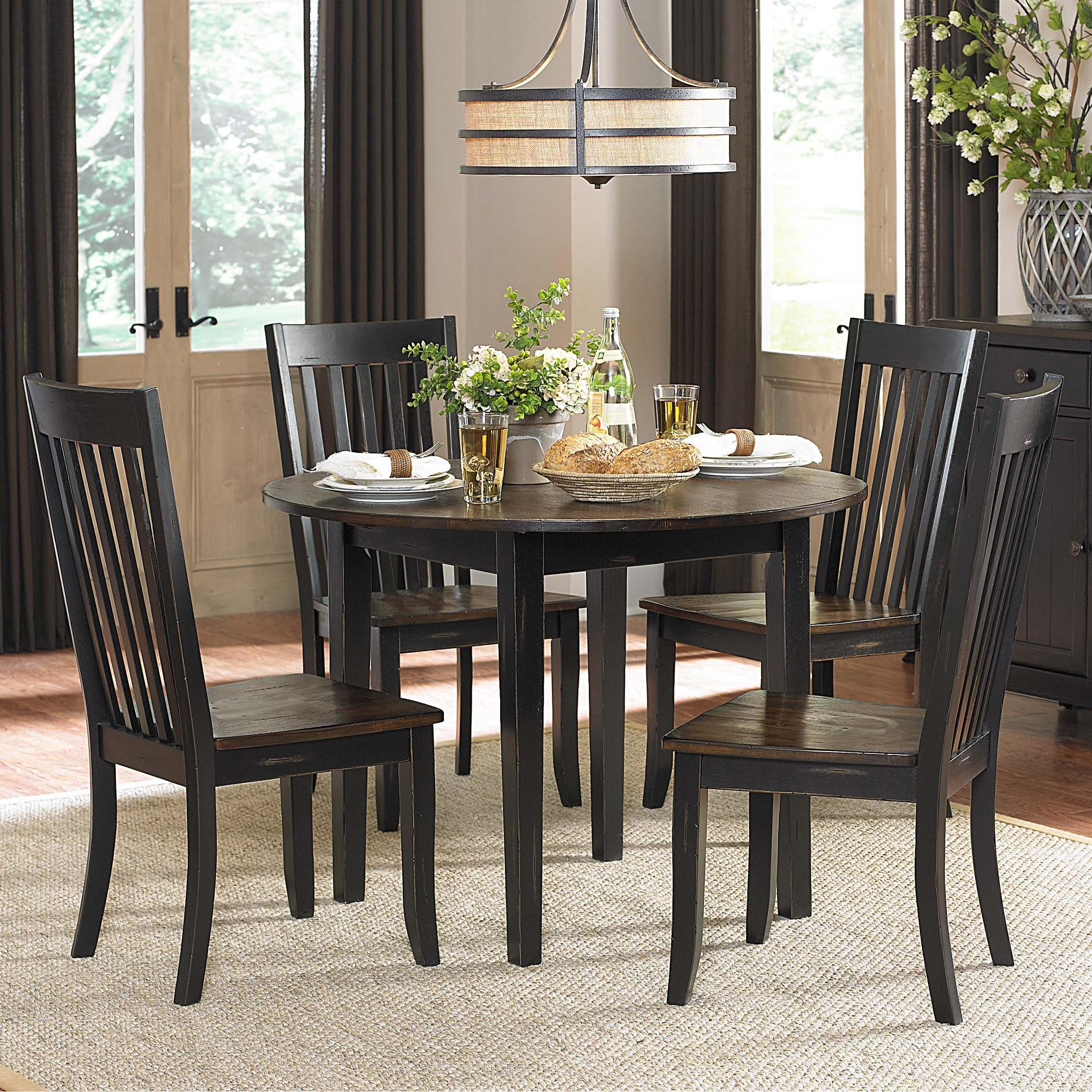 Homelegance Three Falls 5 Piece Dining Set With Round Drop Leaf Table Del S