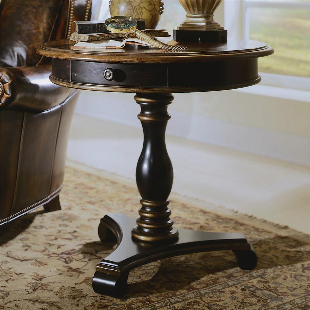 hooker furniture preston ridge round pedestal accent table belfort furniture end table. Black Bedroom Furniture Sets. Home Design Ideas