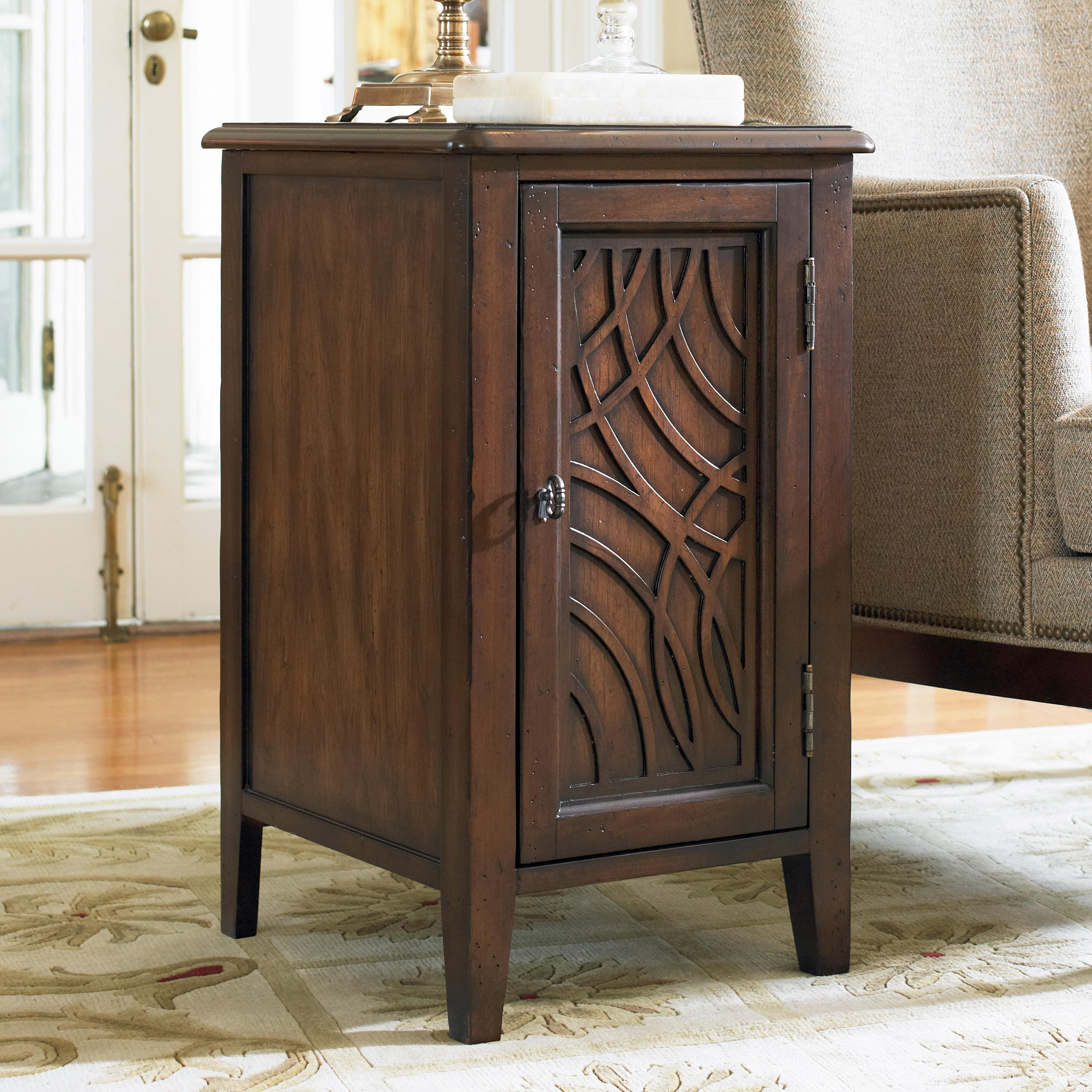 Hooker Furniture Living Room Accents Chairside Door Cabinet With Contemporary Lattice Inlay