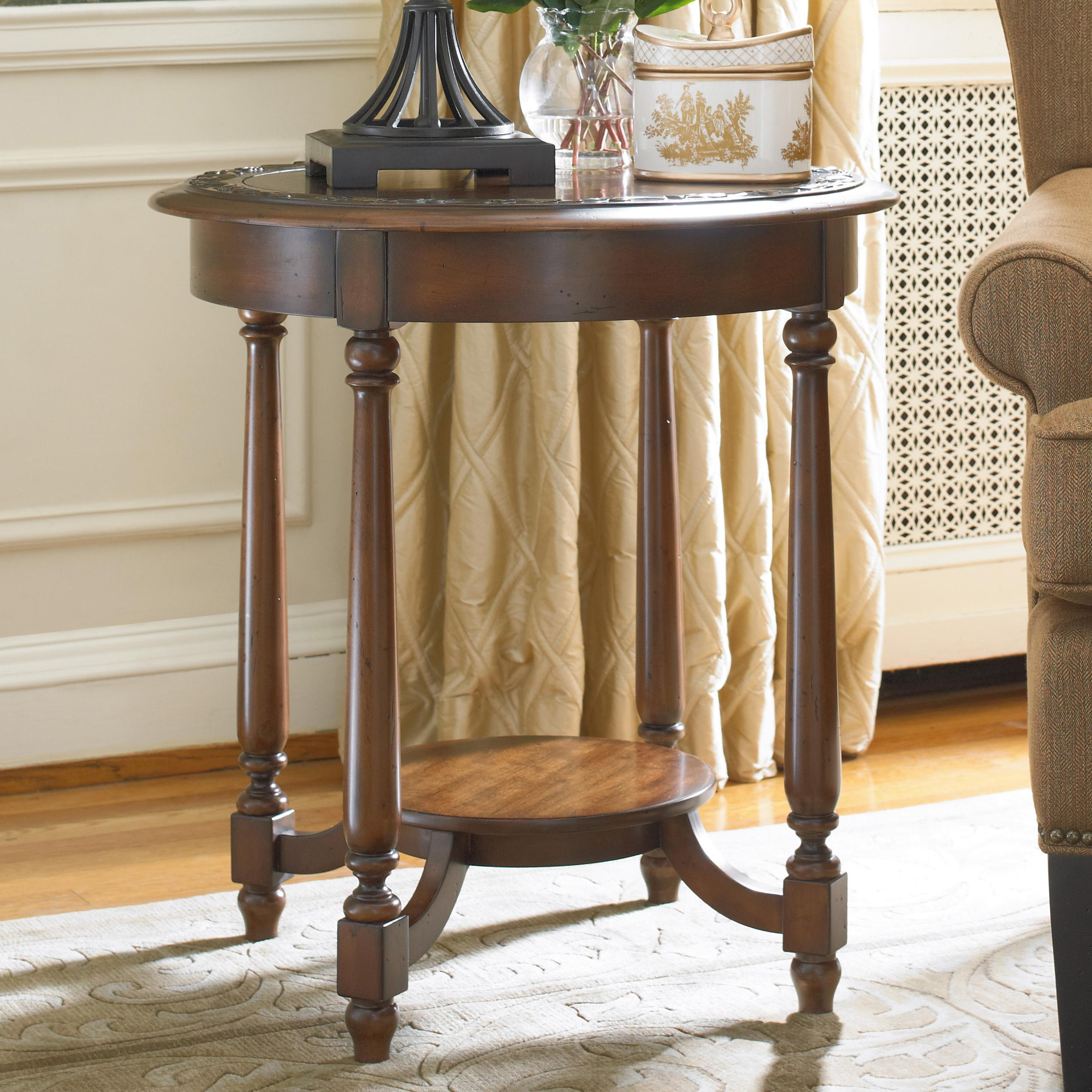 Hooker Furniture Living Room Accents Round Accent Table With Applique Bordered Top Wayside