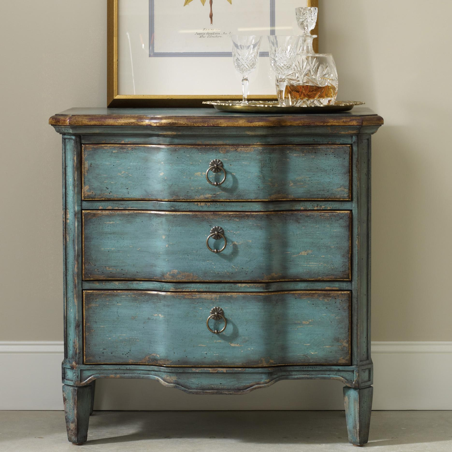 Hamilton Home Living Room Accents Three Drawer Turquoise Chest With Shaped Front Rotmans