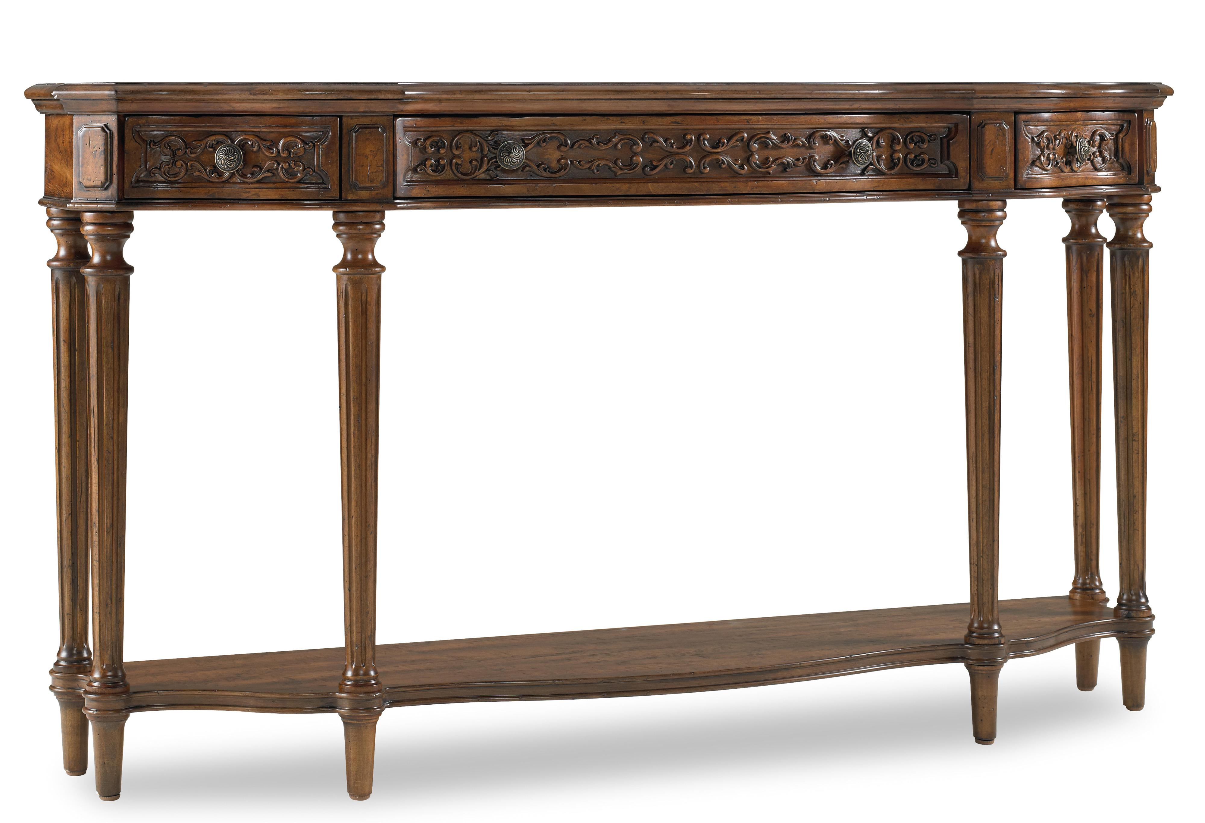 Hooker furniture living room accents traditionally carved for Demilune console table with drawers