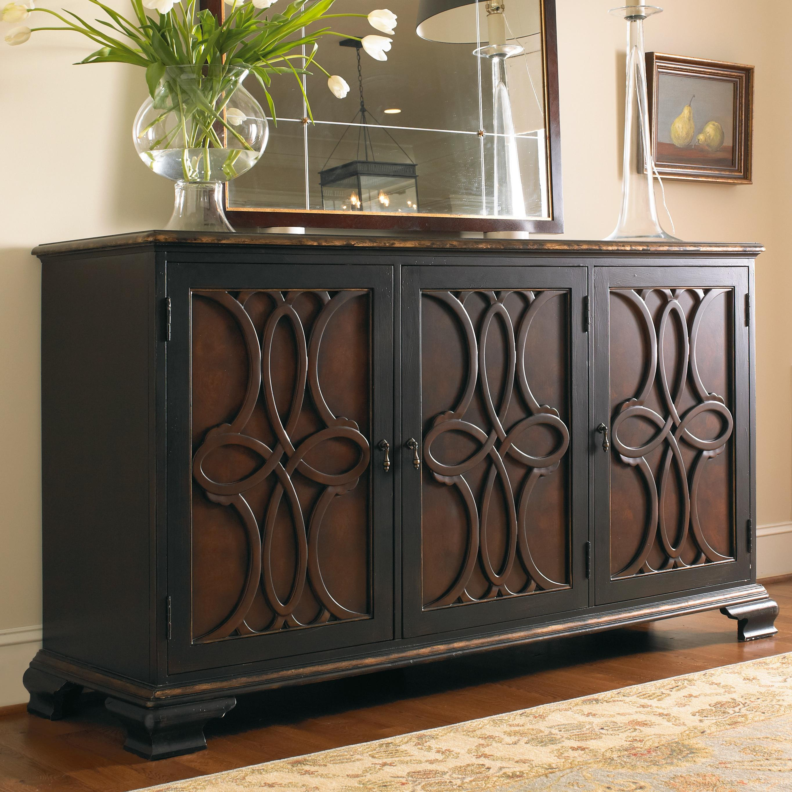 hamilton home living room accents two tone credenza with raised applique door fronts rotmans. Black Bedroom Furniture Sets. Home Design Ideas