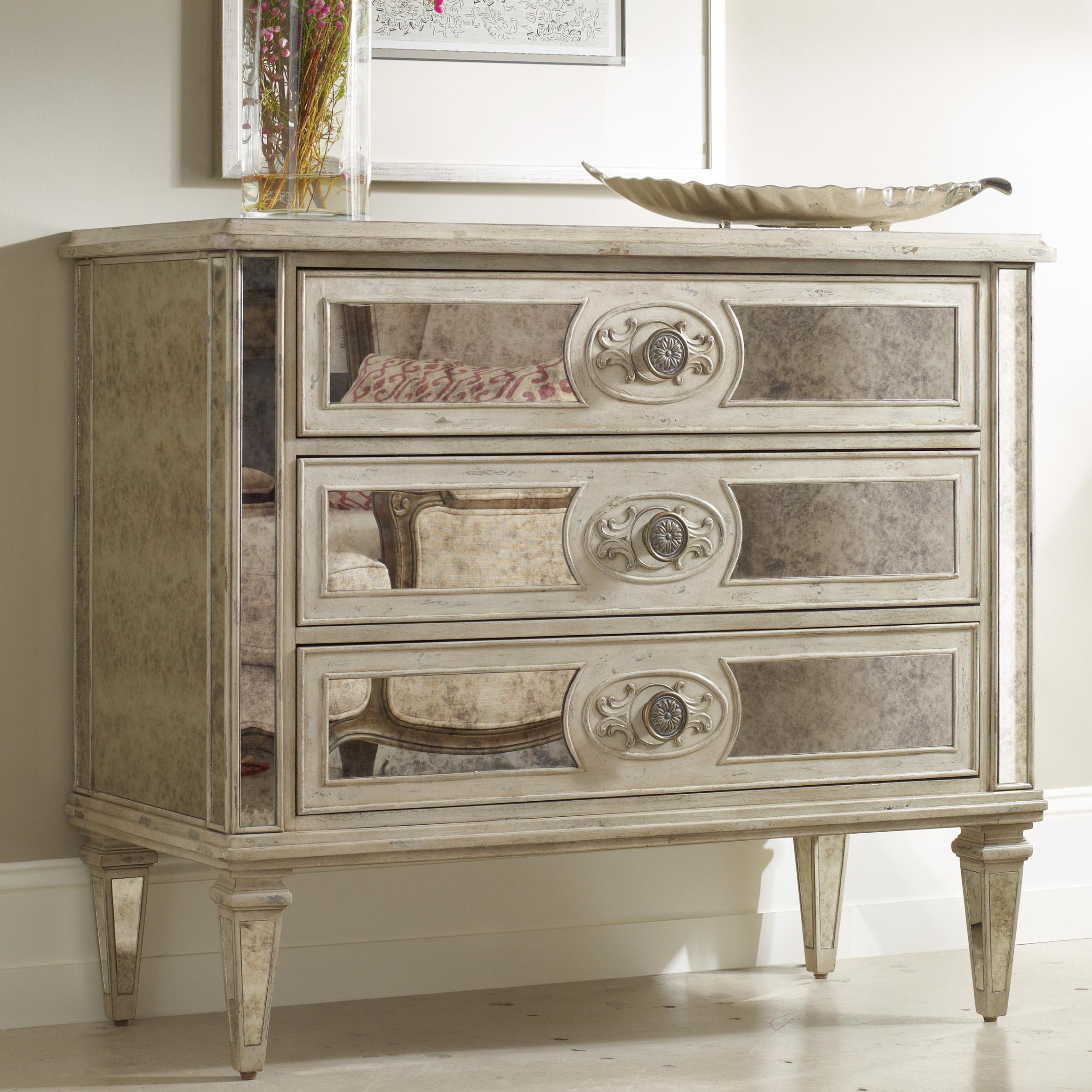 Hooker Furniture Living Room Accents 5125 85001 3 Drawer Antique Mirrored Chest Baer 39 S