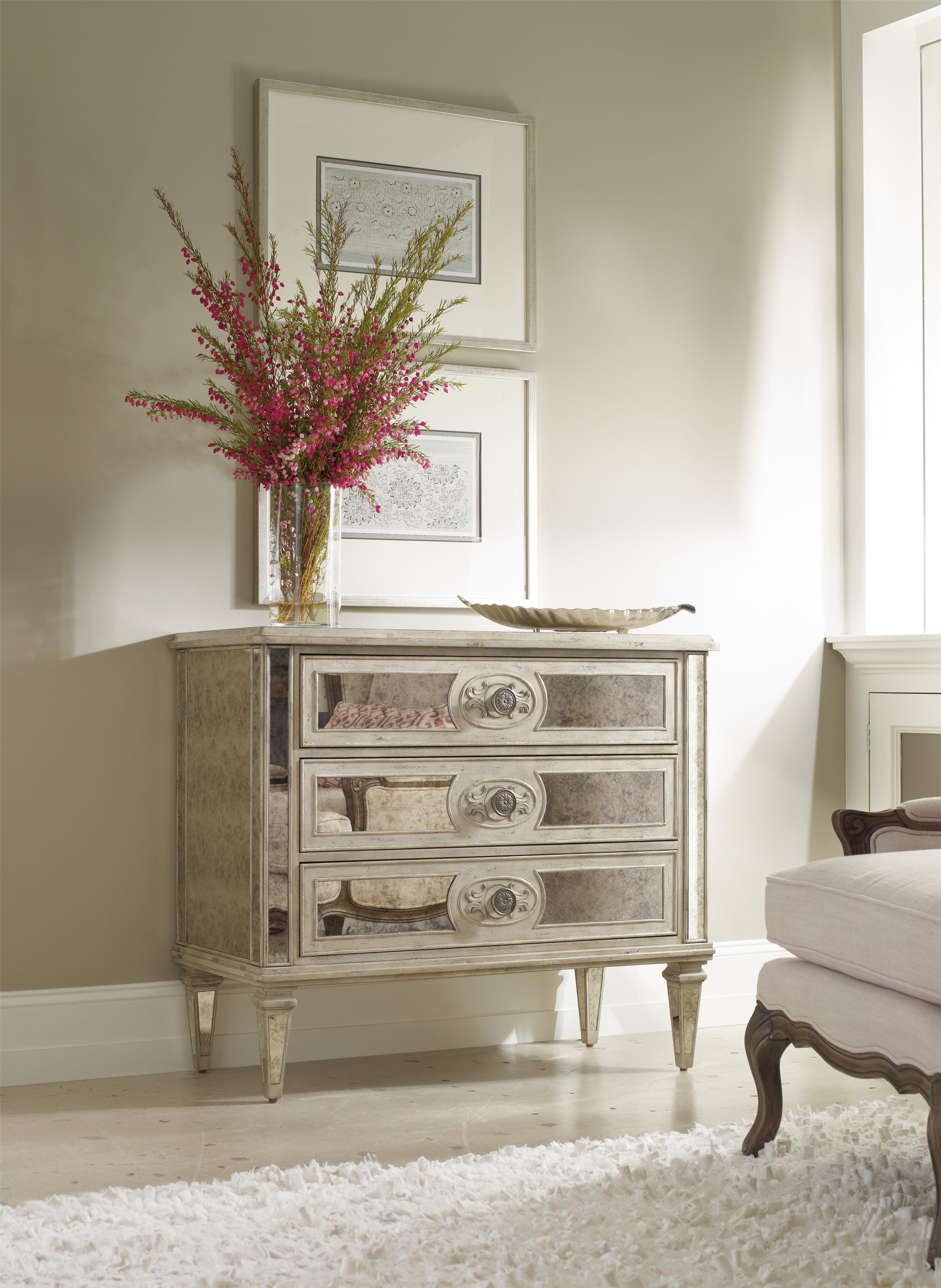 Hooker Furniture Living Room Accents 3 Drawer Antique Mirrored Chest Olinde 39 S Furniture