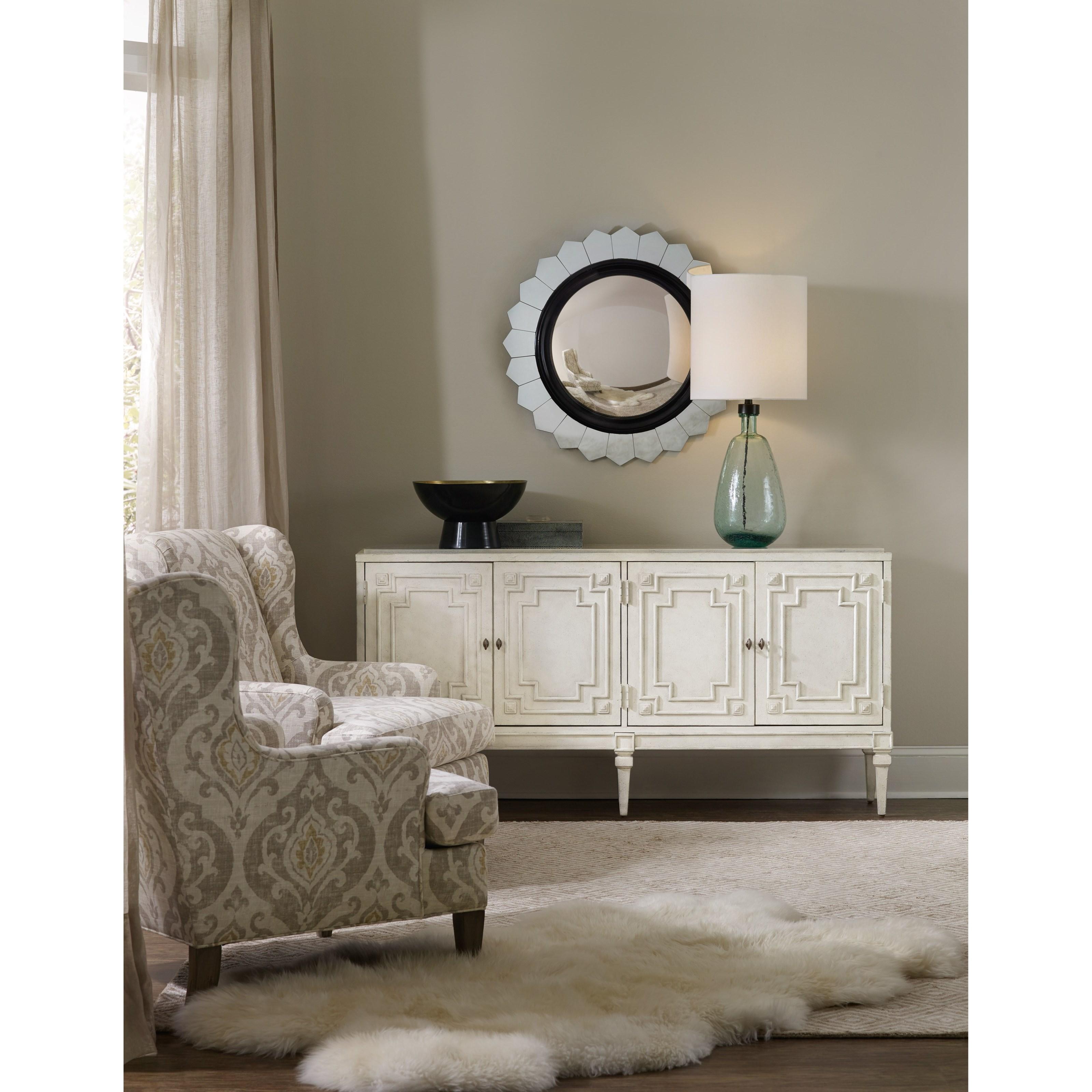 Living Room Credenza : Hooker Furniture Living Room Accents 5485-85001-WH 4-Door ...
