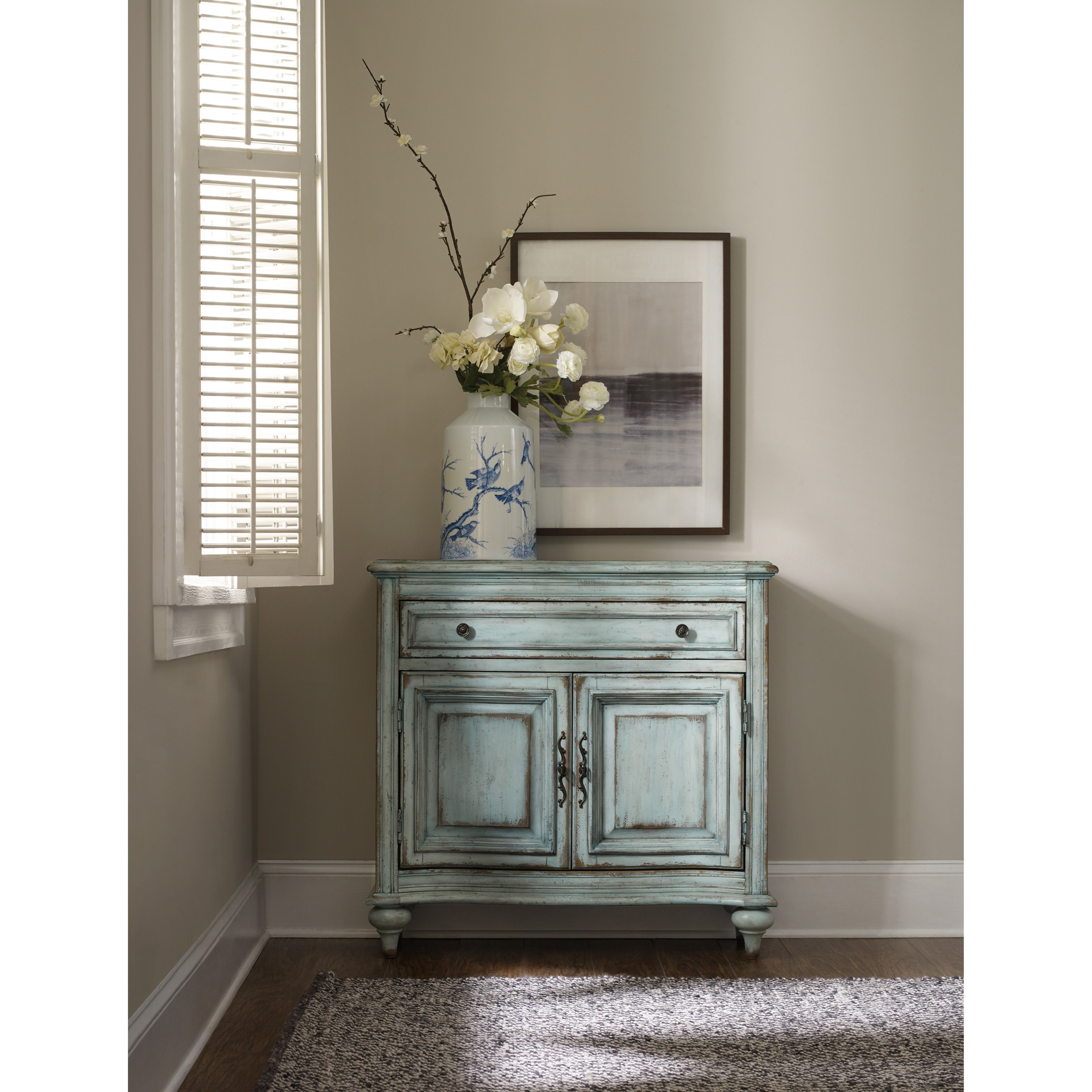 Hooker Furniture Living Room Accents 5494 85001 Ltbe 1 Drawer 2 Door Chest In Distressed Blue