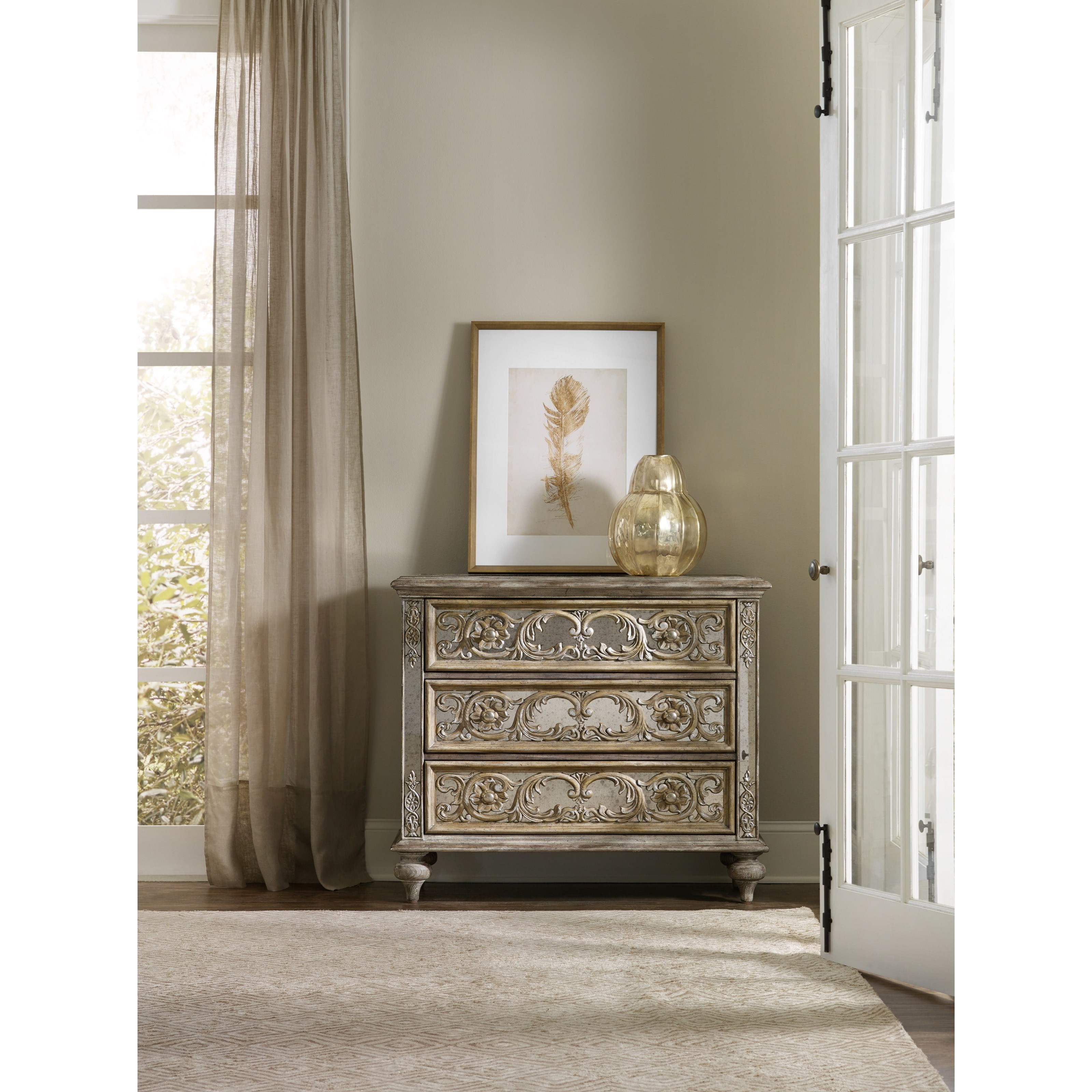 Hooker furniture living room accents ornate mirrored chest with 3 drawers reeds furniture Mirrored living room furniture