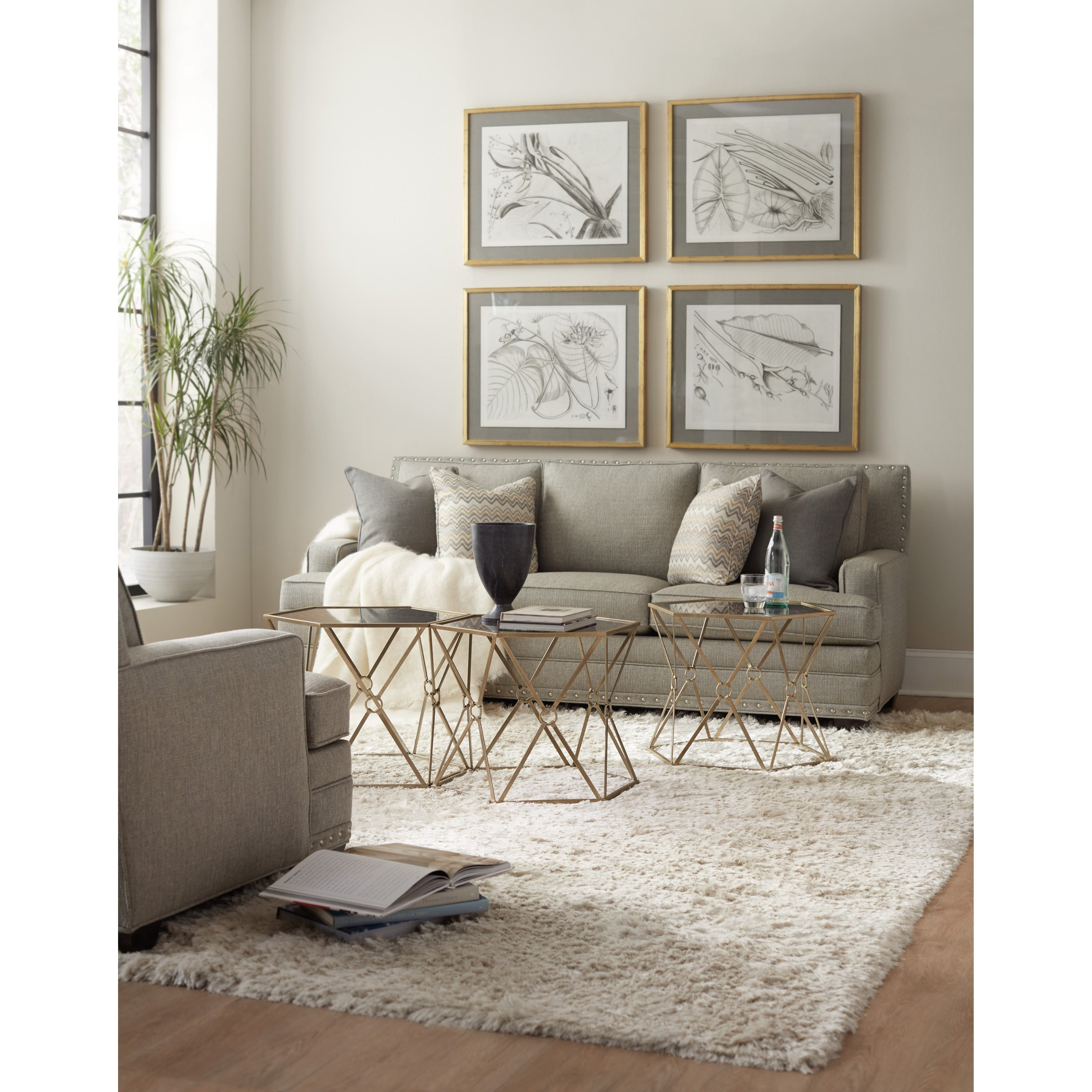 Hooker Furniture Living Room Accents Accent Bunching Tables With Etched Black Glass Top Knight