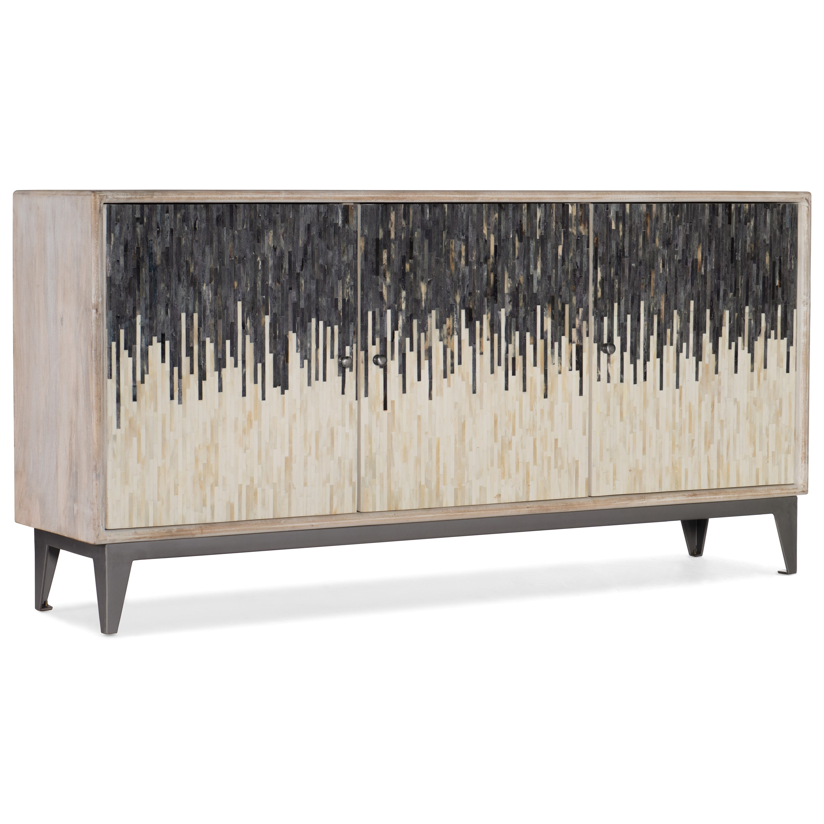 Living Room Accents Three Door Console by Hooker Furniture at Malouf Furniture Co.