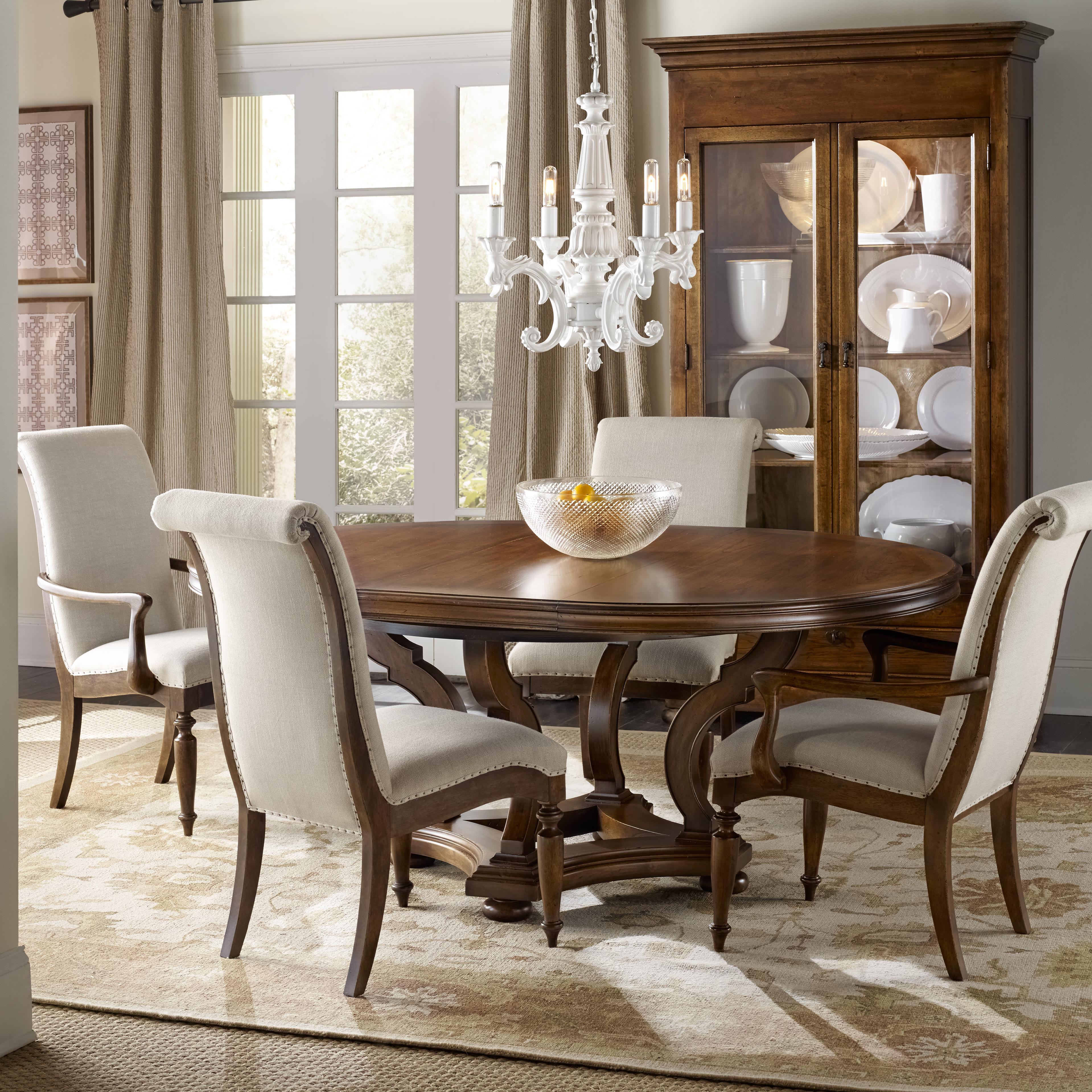 hooker furniture archivist 5 piece dining set with round. Black Bedroom Furniture Sets. Home Design Ideas