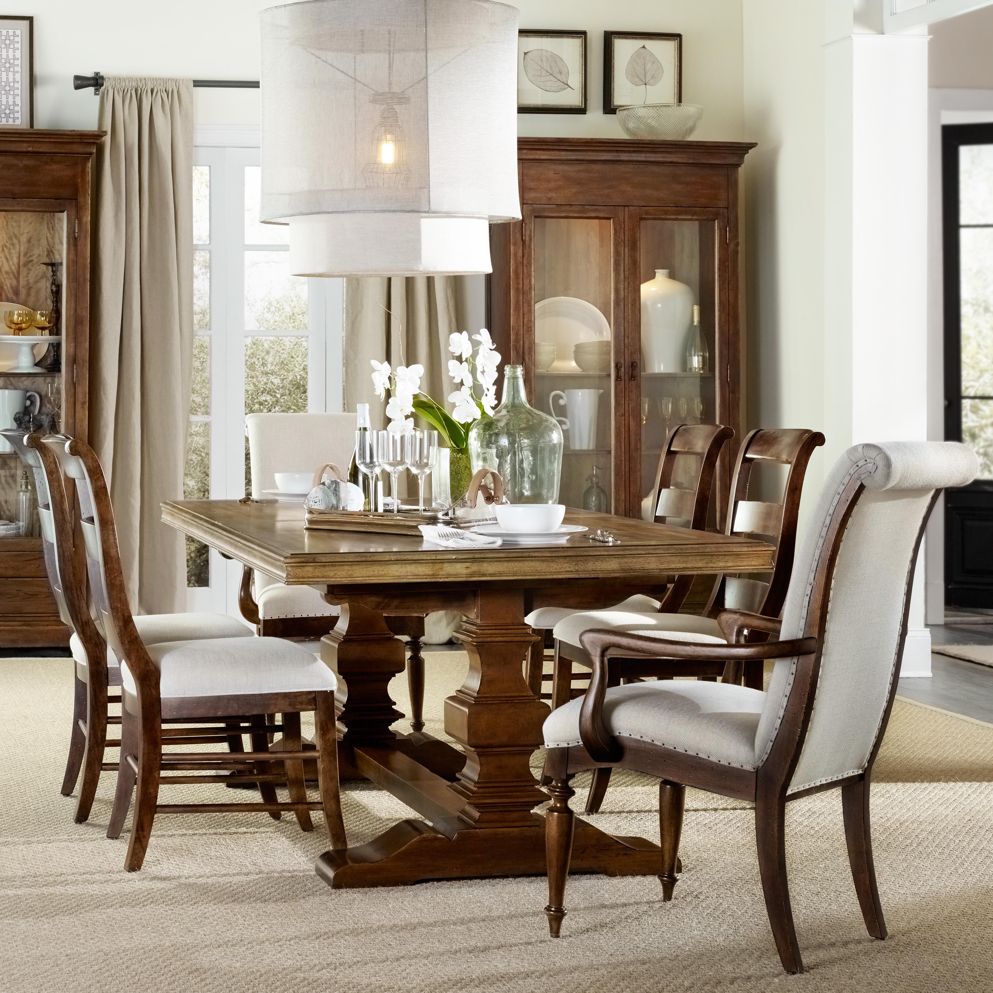 hooker furniture archivist 7 piece dining set with trestle table belfort furniture dining 7. Black Bedroom Furniture Sets. Home Design Ideas