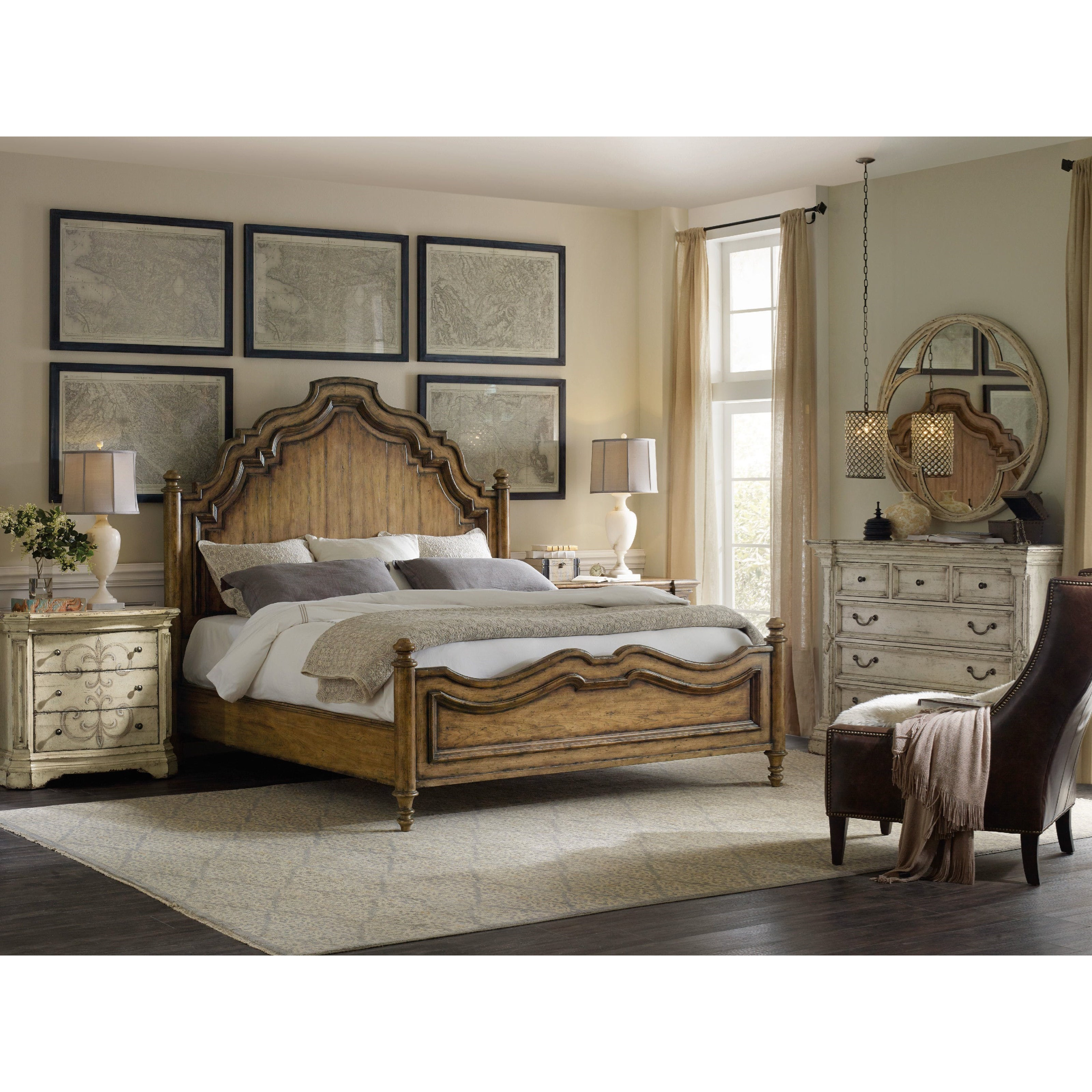 Hooker furniture auberose king bedroom group reeds for Bedroom furniture groups