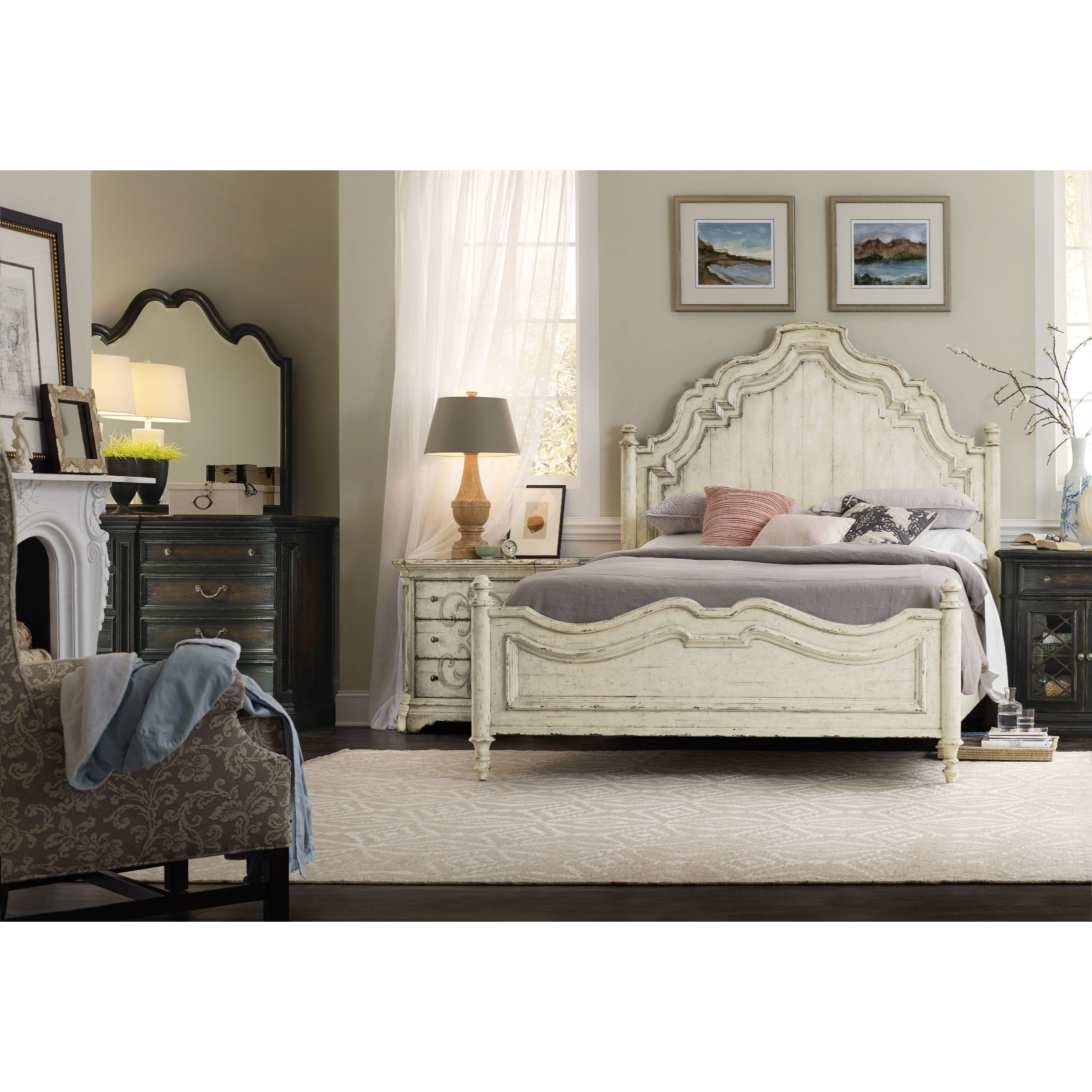 Hooker furniture auberose king bedroom group olinde 39 s for Bedroom furniture groups