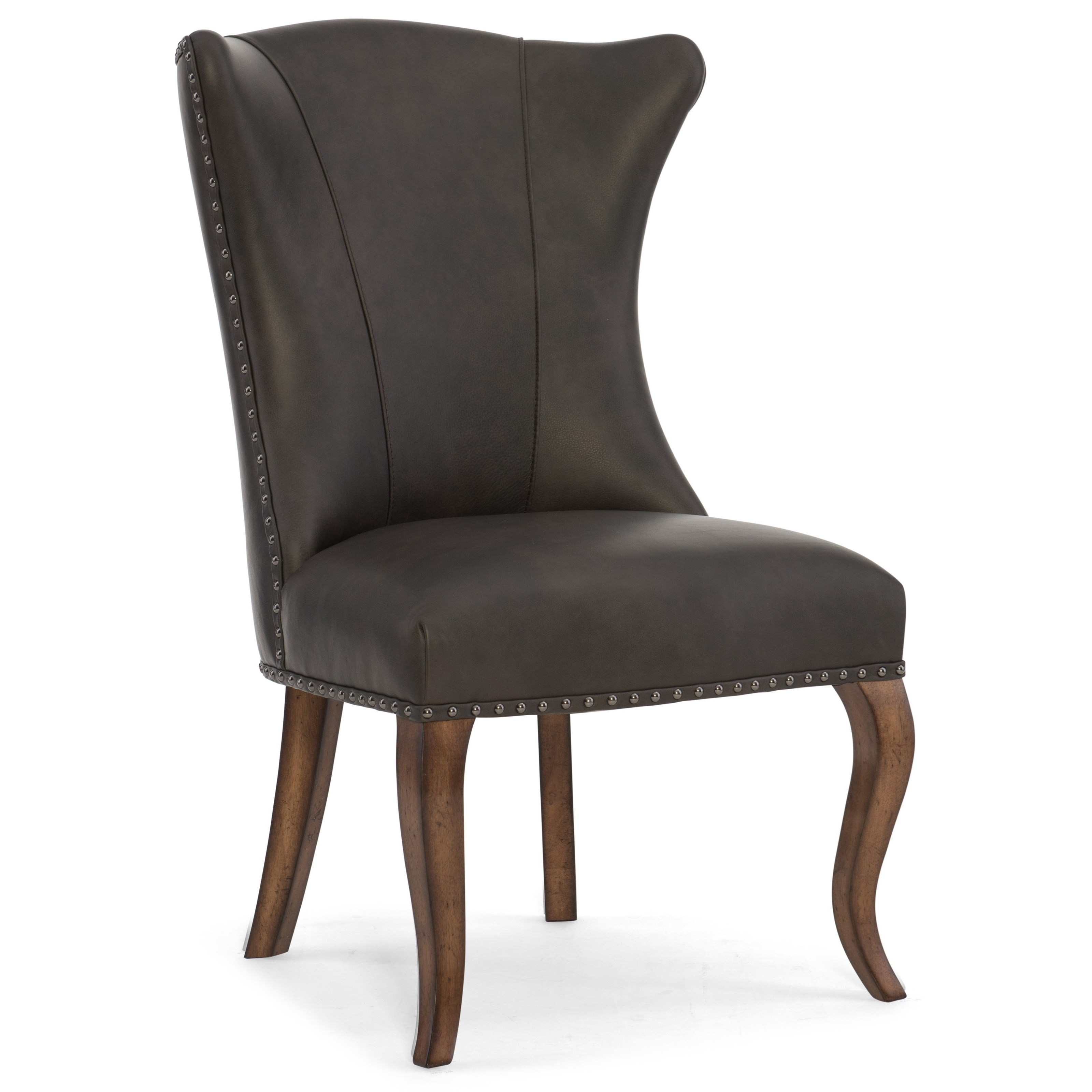 Hooker furniture auberose leather dining chair adcock for Colorful leather dining chairs
