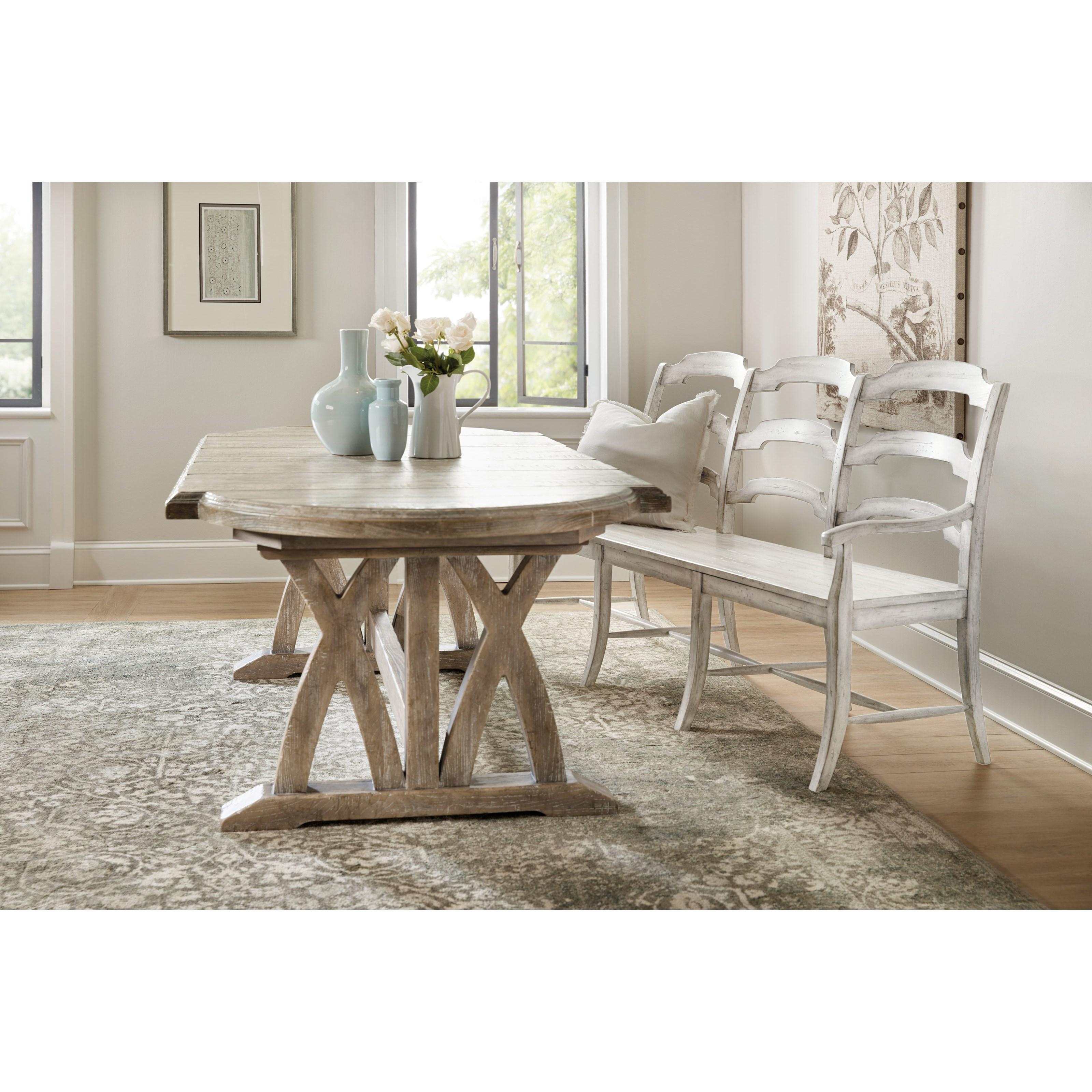 hooker furniture boheme 5750 75315 ltwd du monde ladderback dining bench baer 39 s furniture. Black Bedroom Furniture Sets. Home Design Ideas