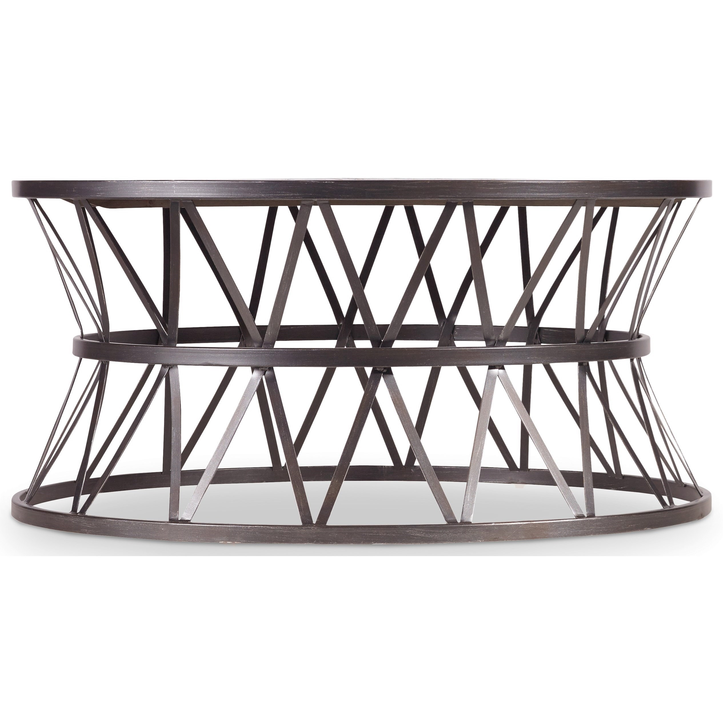 Hooker Furniture Chadwick Round Cocktail Table With Metal X Pedestal Frame Belfort Furniture