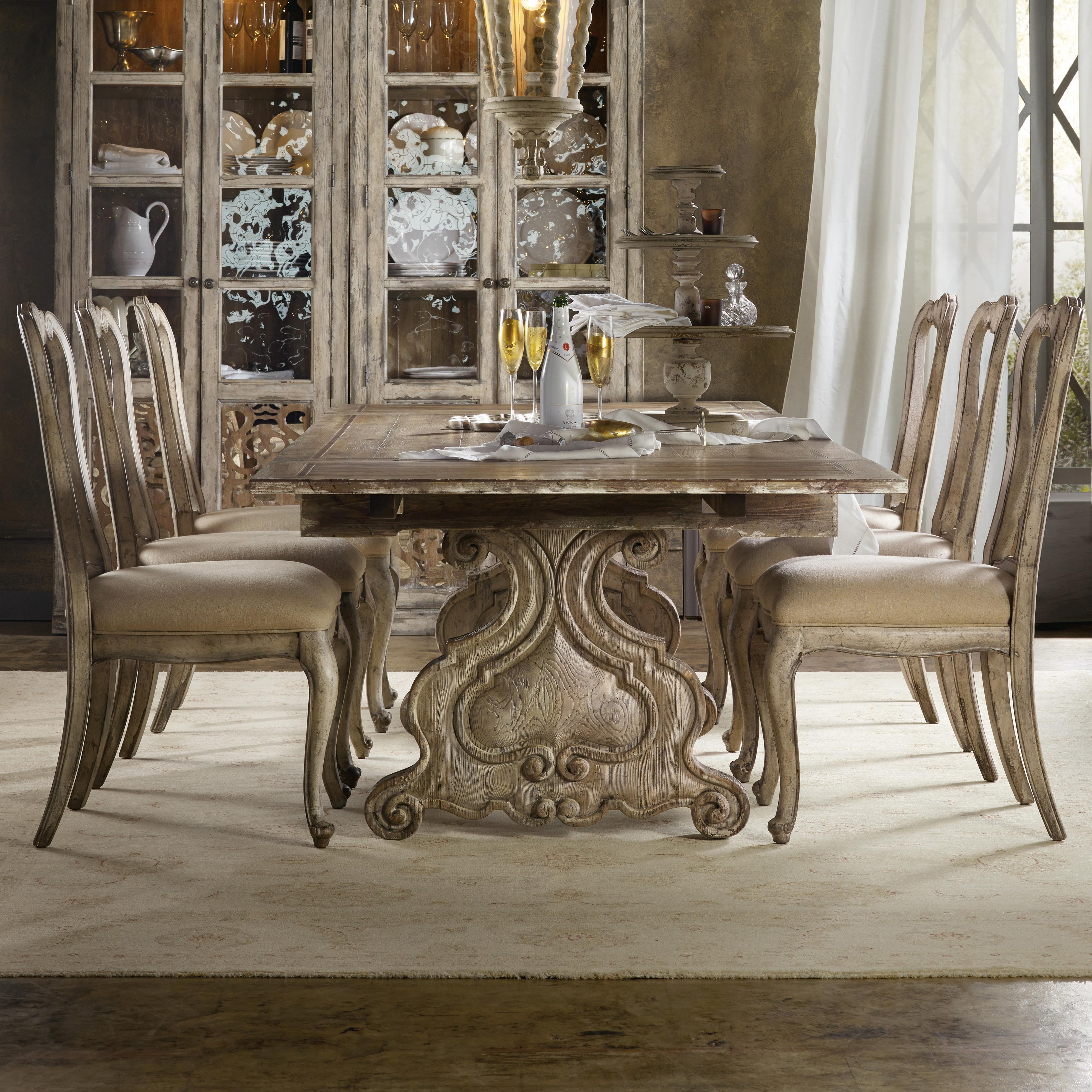 hooker furniture chatelet 7 piece dining set with refectory trestle table belfort furniture. Black Bedroom Furniture Sets. Home Design Ideas