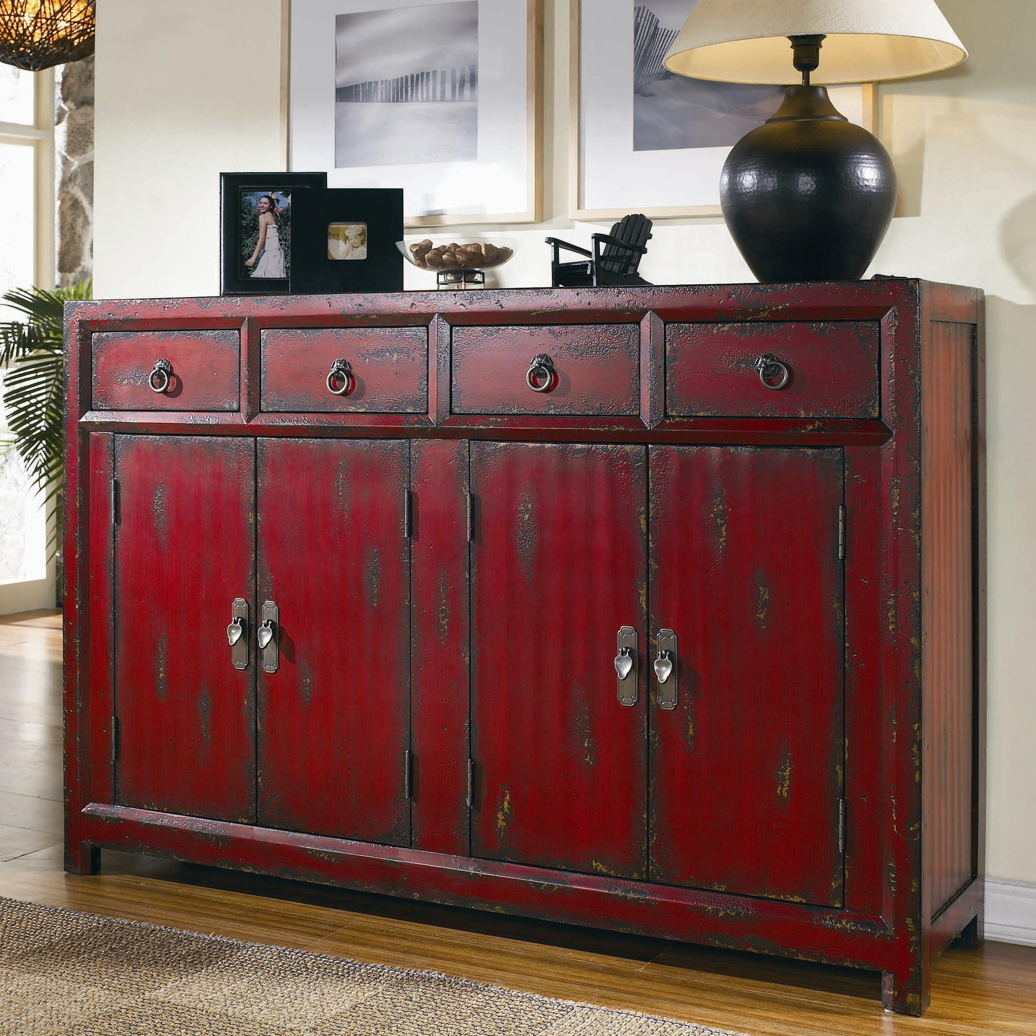 Hooker furniture chests and consoles red asian cabinet for Asian console cabinet