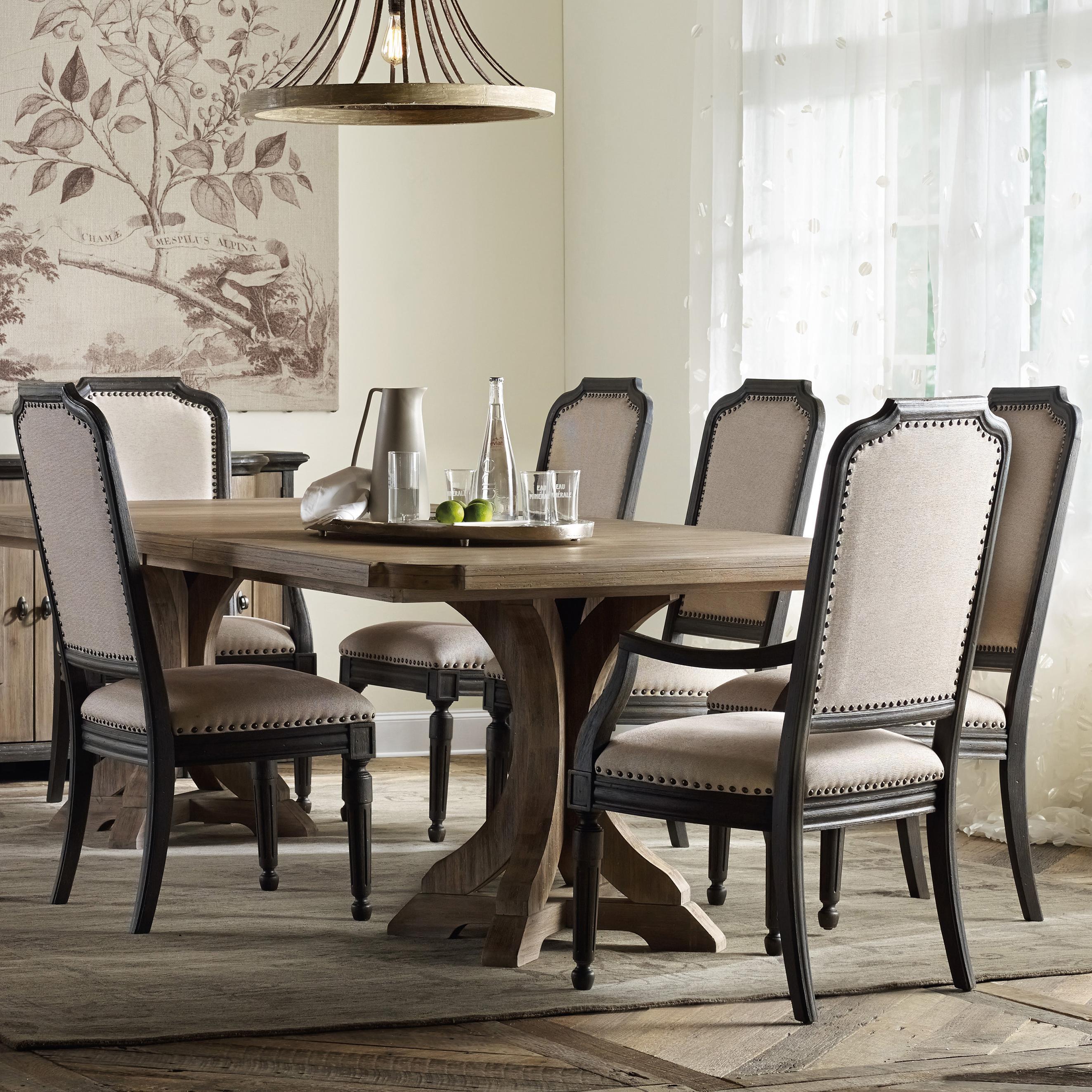 hooker furniture corsica rectangle pedestal dining table set with upholstered chairs olinde 39 s. Black Bedroom Furniture Sets. Home Design Ideas