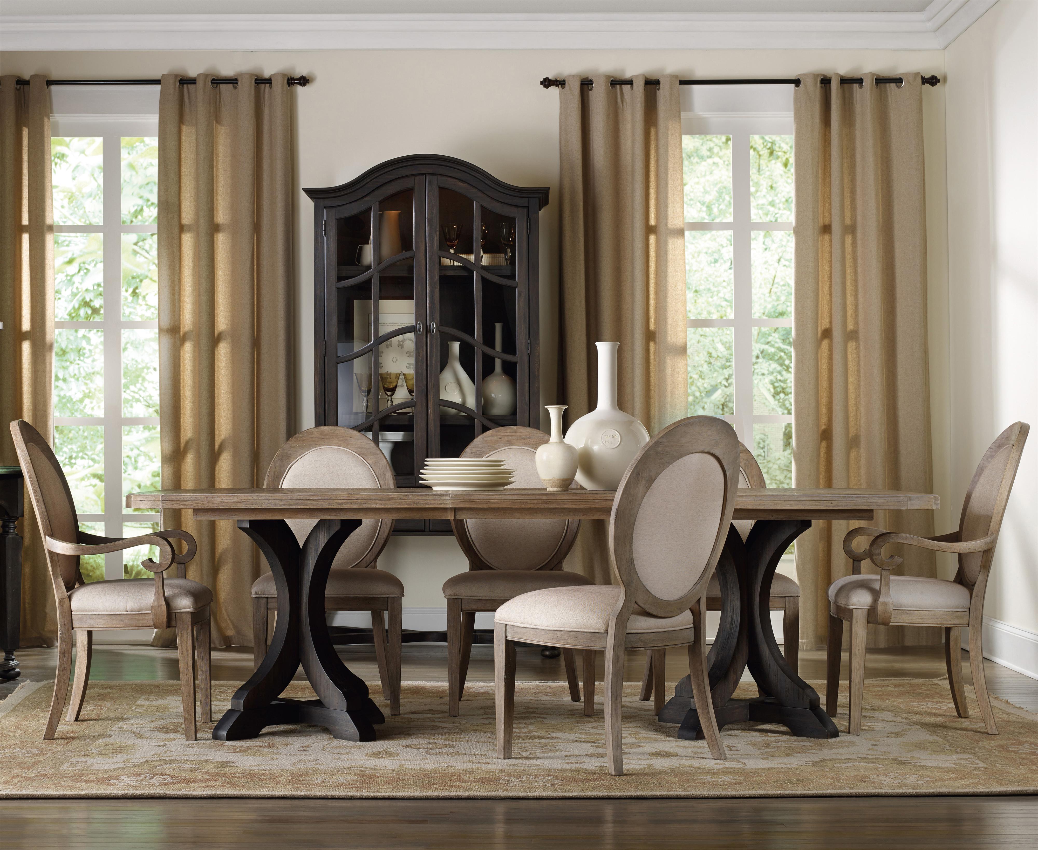 hooker furniture corsica rectangle pedestal dining table set with oval back chairs olinde 39 s. Black Bedroom Furniture Sets. Home Design Ideas