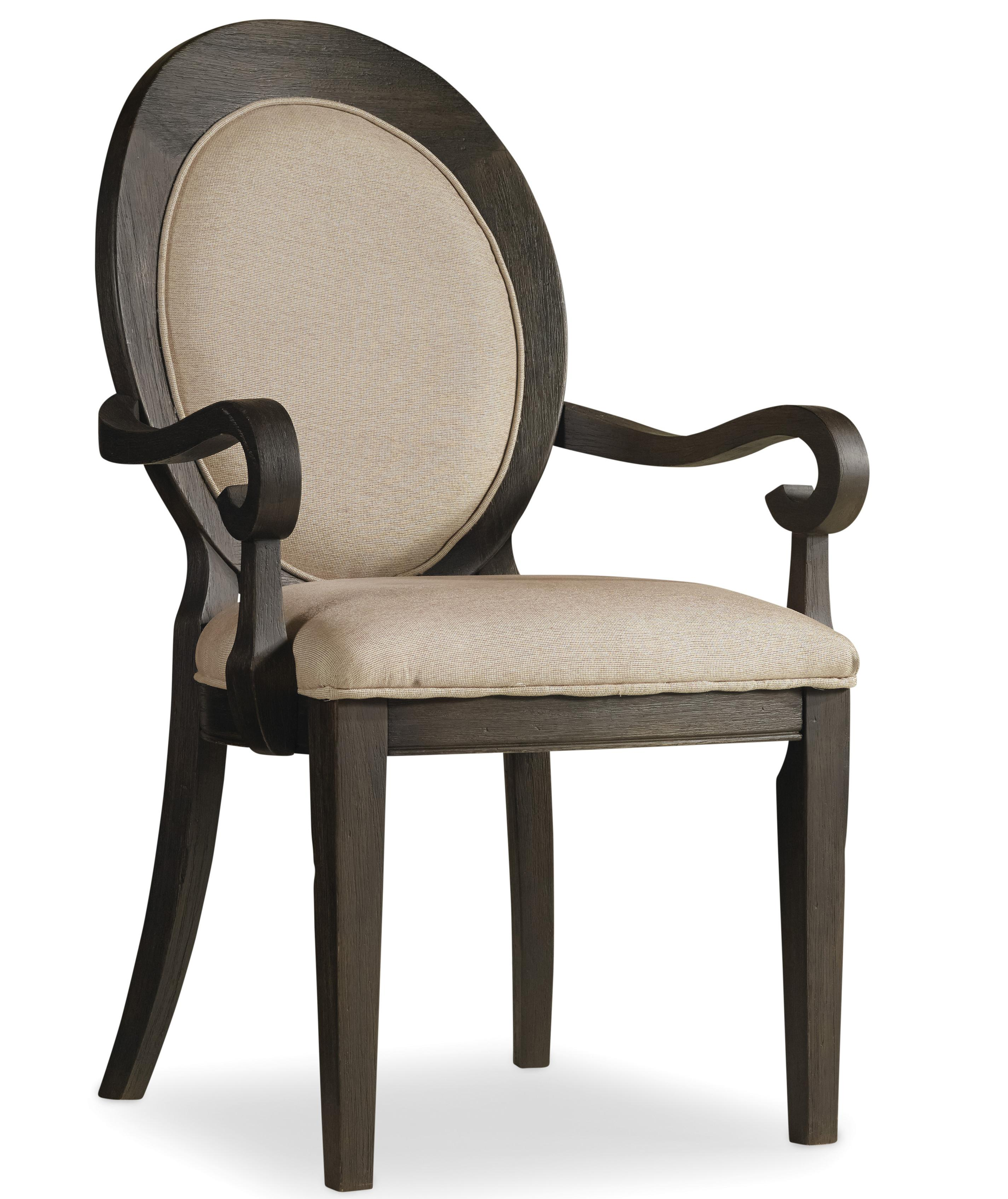Corsica Oval Back Arm Chair by Hooker Furniture at Miller Waldrop Furniture and Decor
