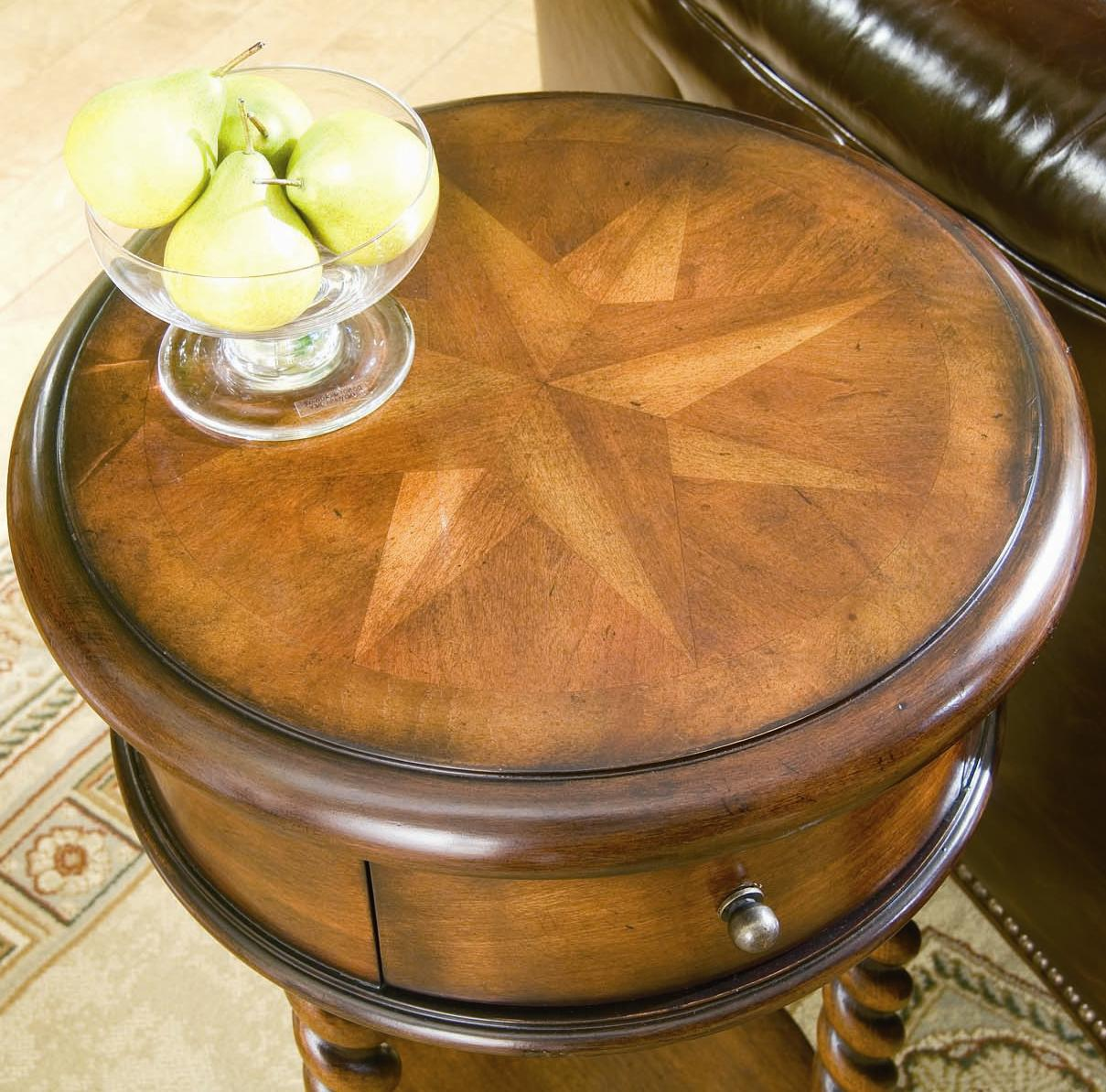 """Hooker Furniture Seven Seas 14"""" Inlay Top Round Accent"""