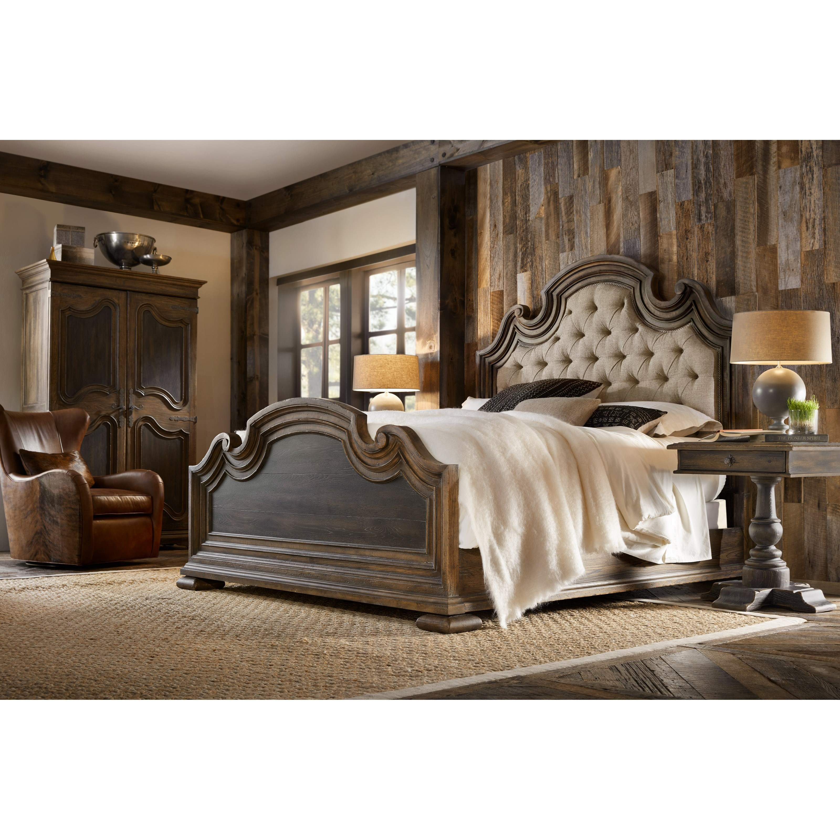 Hooker furniture hill country lakehills wardrobe with full for Country style bedroom suites