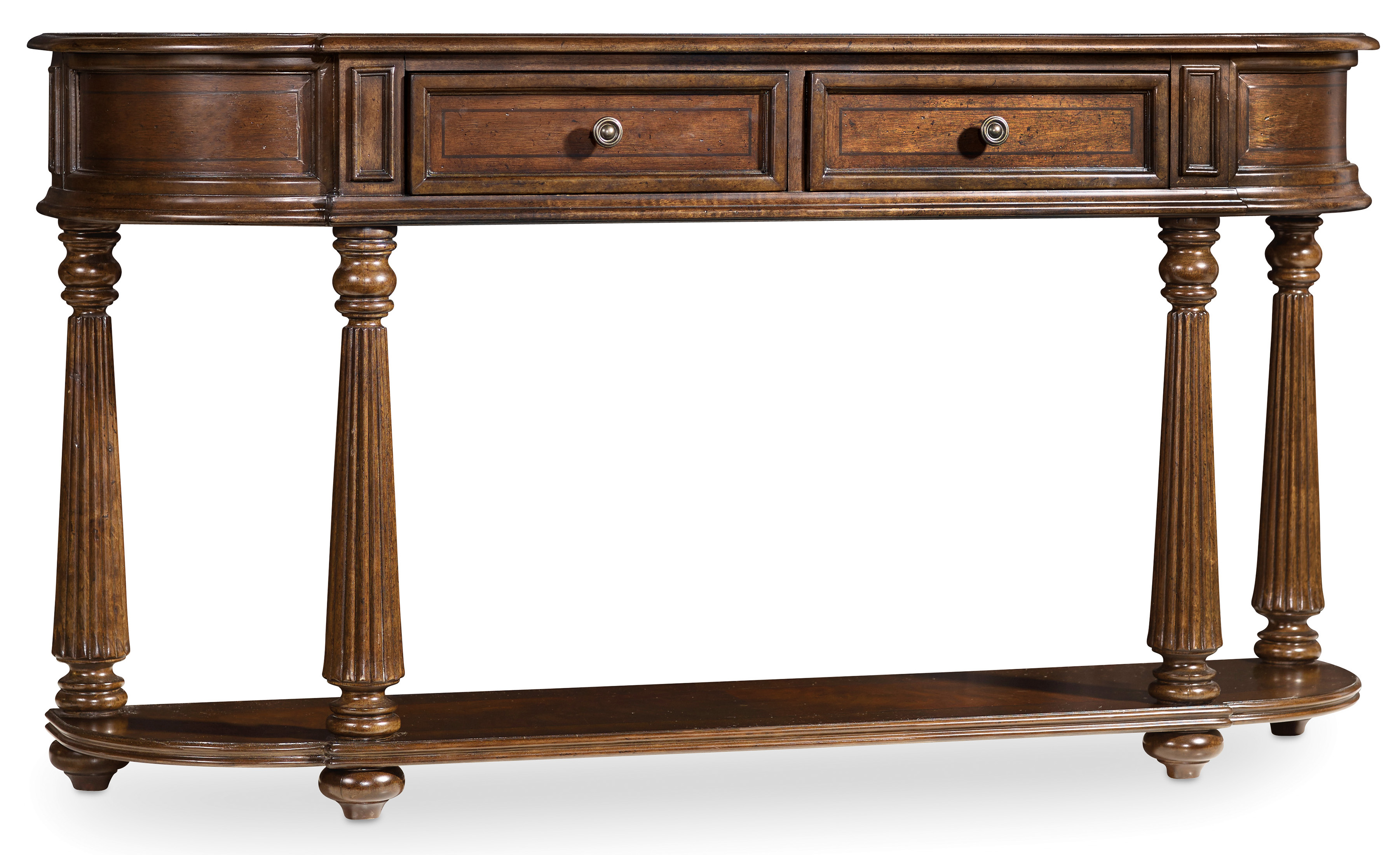 Hooker furniture leesburg 5381 80151 demilune hall console for Demilune console table with drawers