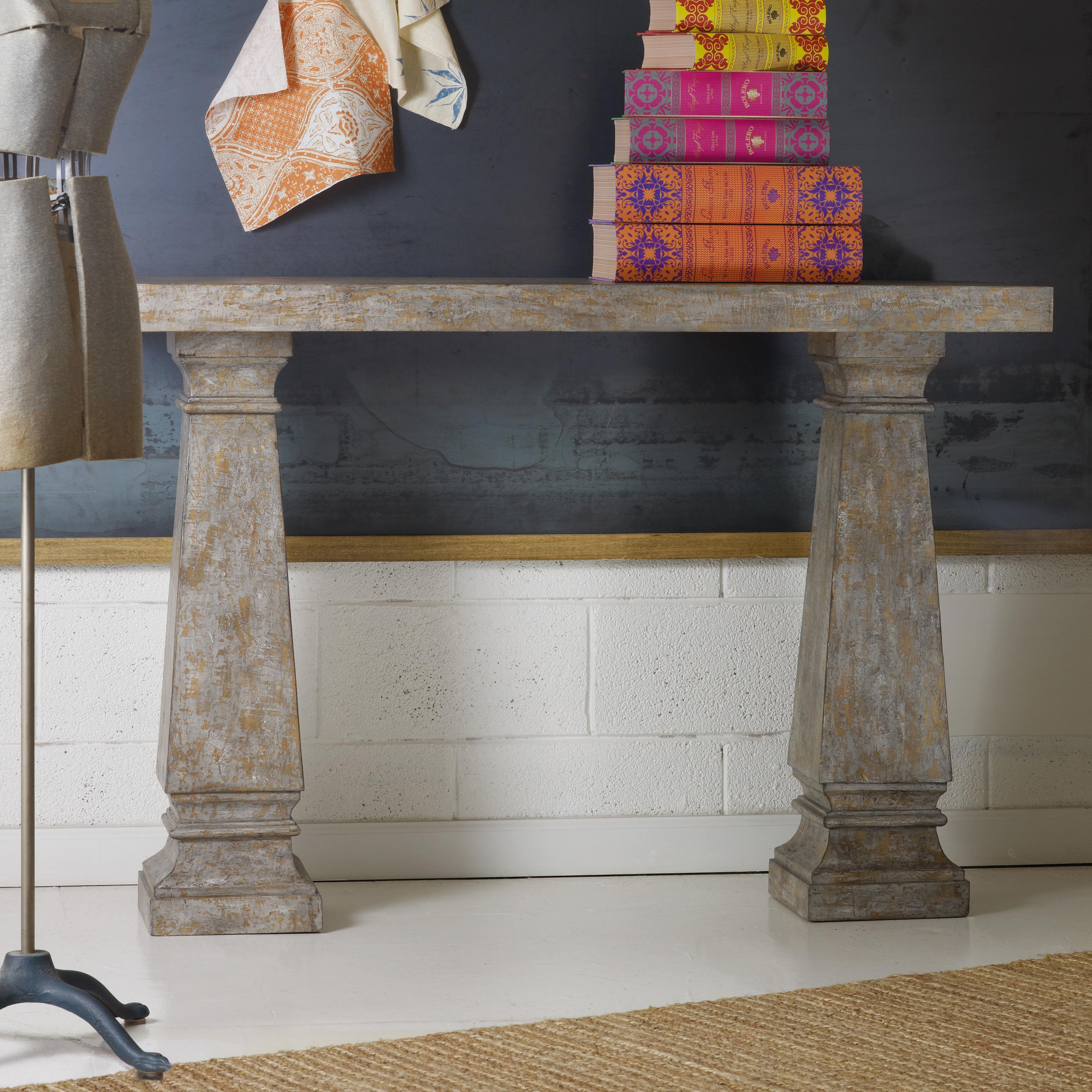 Melange Double Column Console by Hooker Furniture at Zak's Home