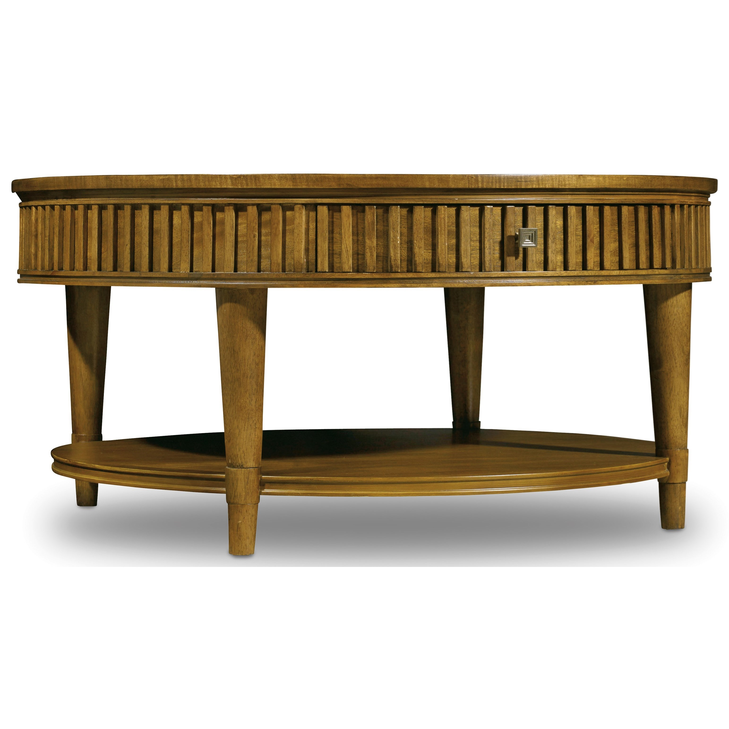 Hooker Furniture Retropolitan Round Cocktail Table With Dovetail Drawer Stoney Creek Furniture