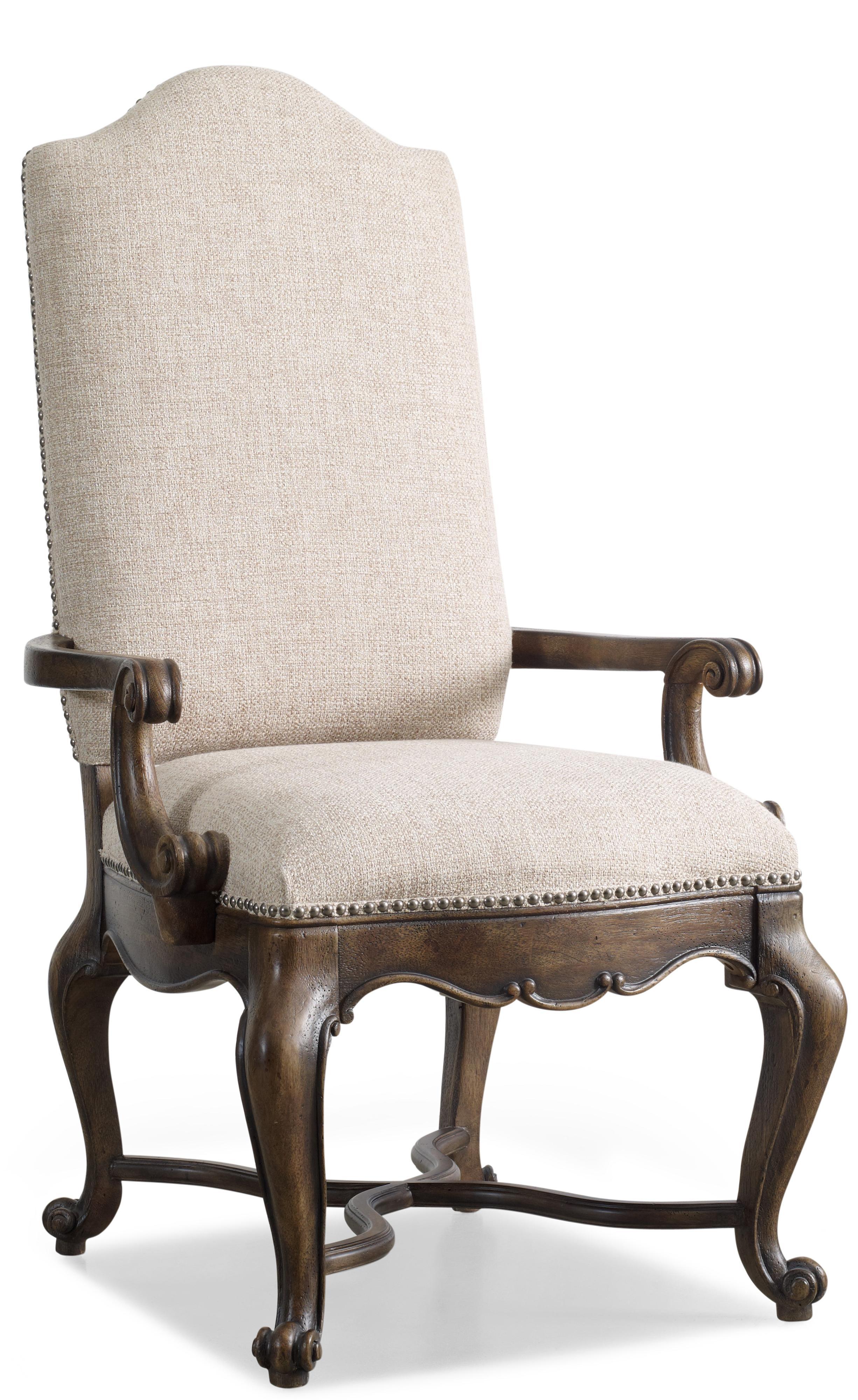 Hooker furniture rhapsody upholstered dining arm chair for Upholstered dining chairs with arms