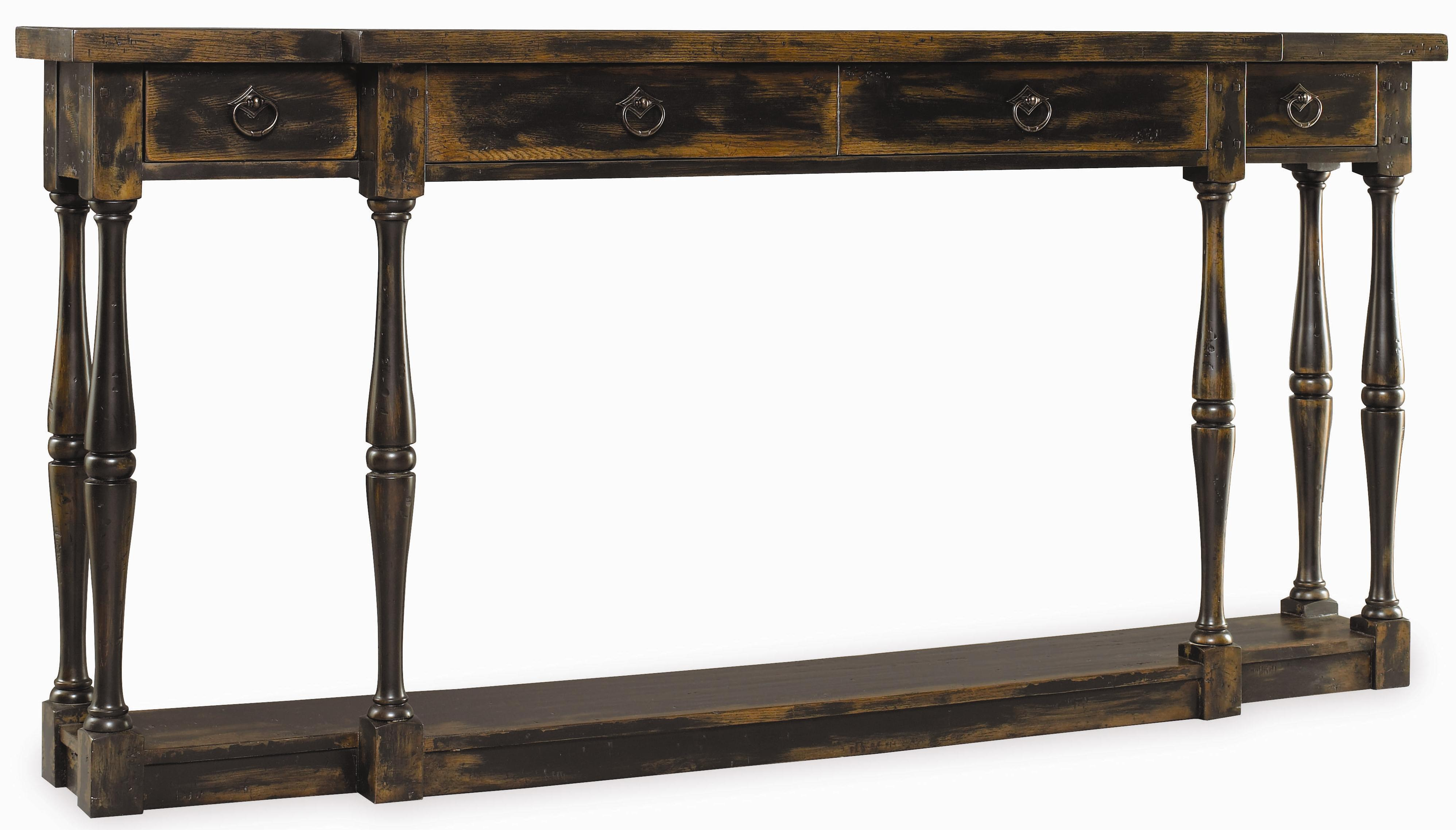 Hooker furniture sanctuary three drawer thin console table for Sofa table thin