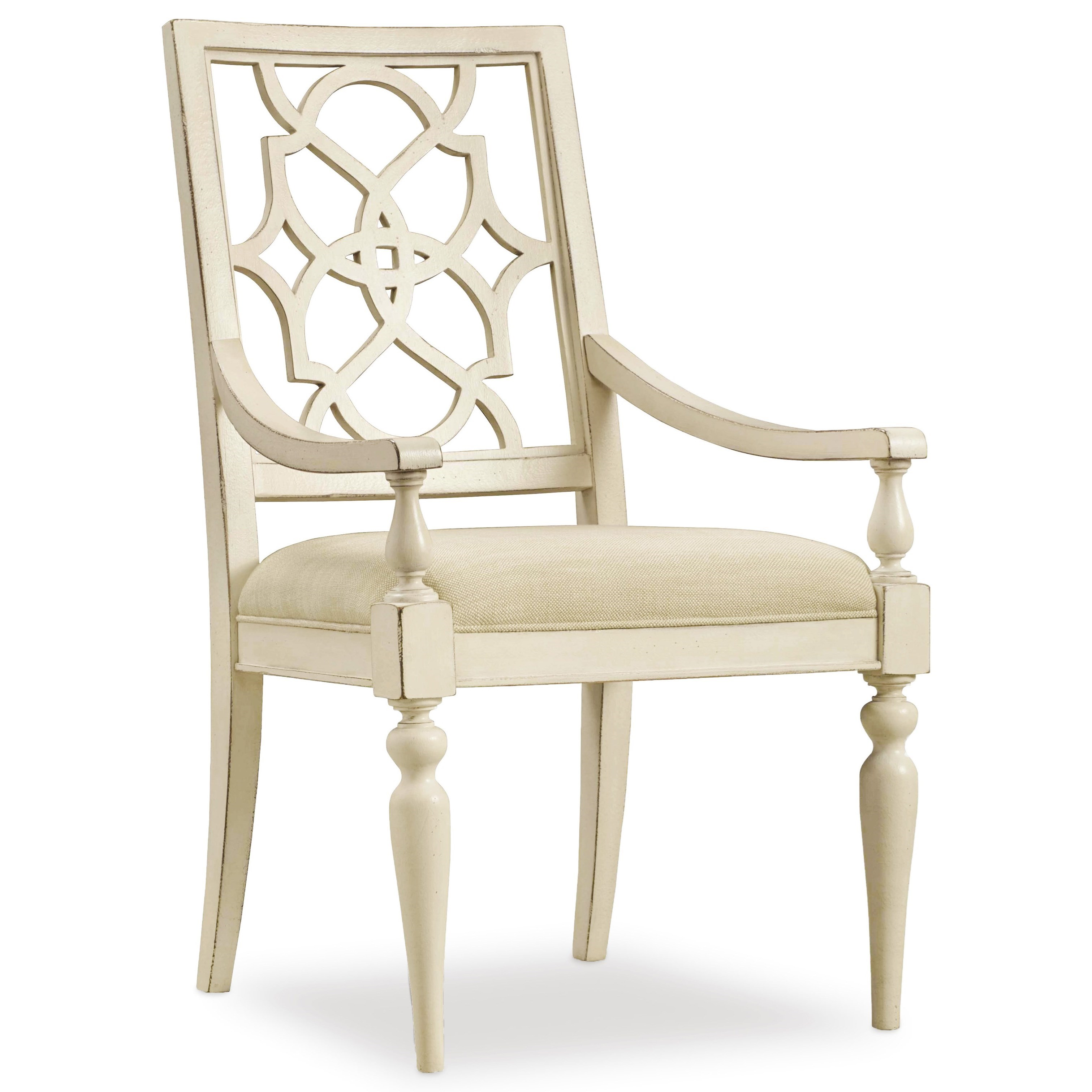 Hooker furniture sandcastle fretback arm chair for Dining chairs with upholstered seats
