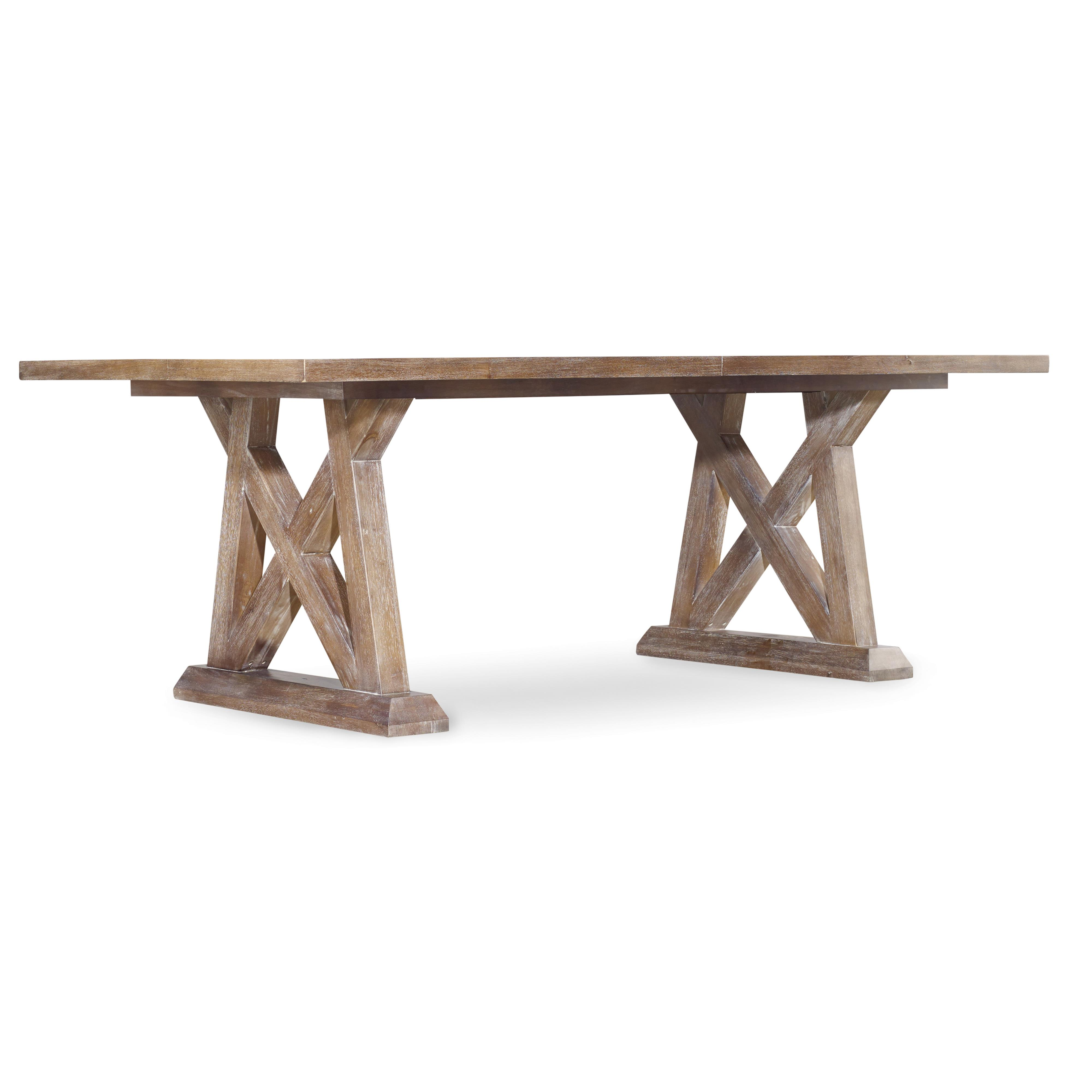Hooker furniture studio 7h geo trestle dining table with x for Pedestal trestle dining table plans