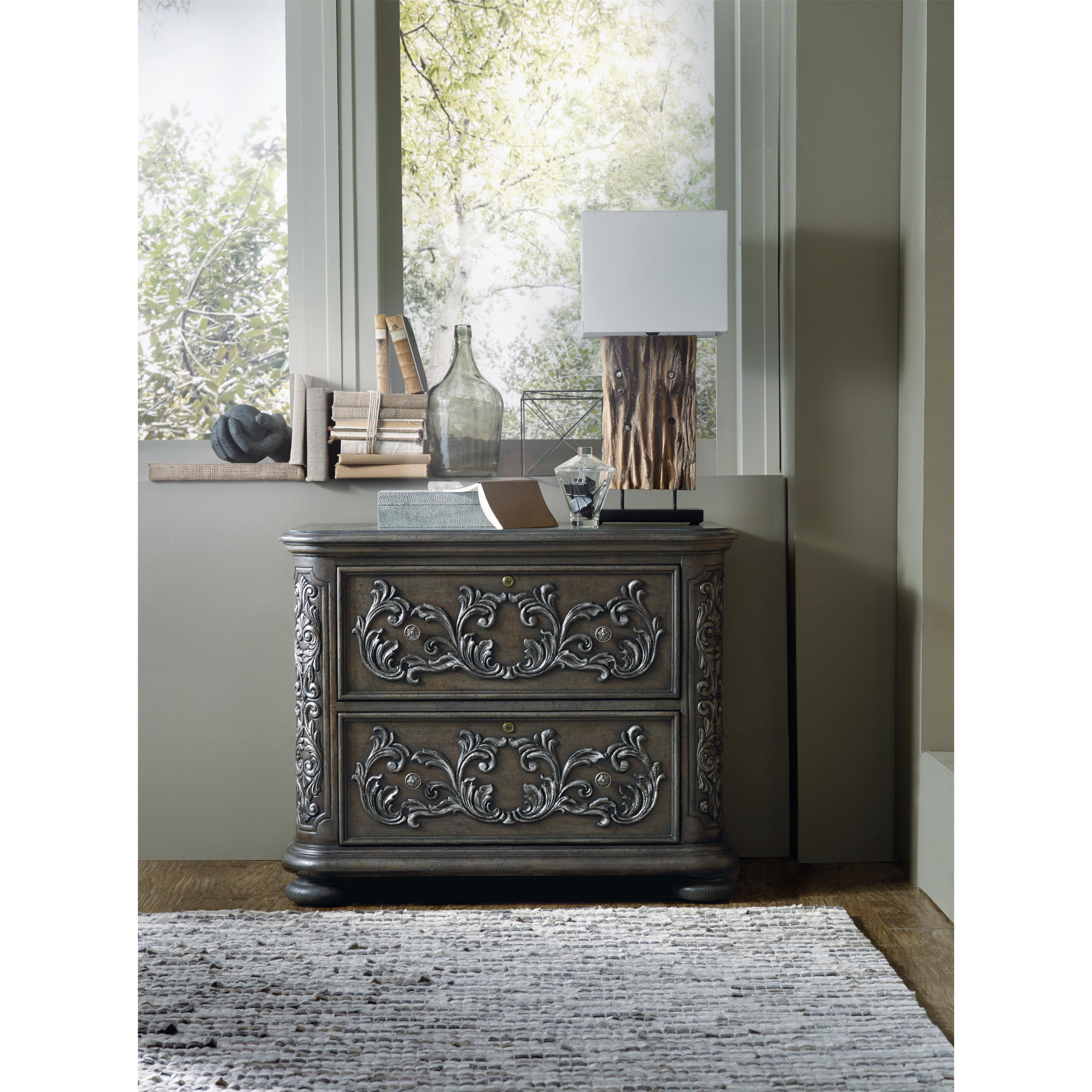 hooker furniture vintage west lateral file with acanthus carvings zak 39 s fine furniture. Black Bedroom Furniture Sets. Home Design Ideas