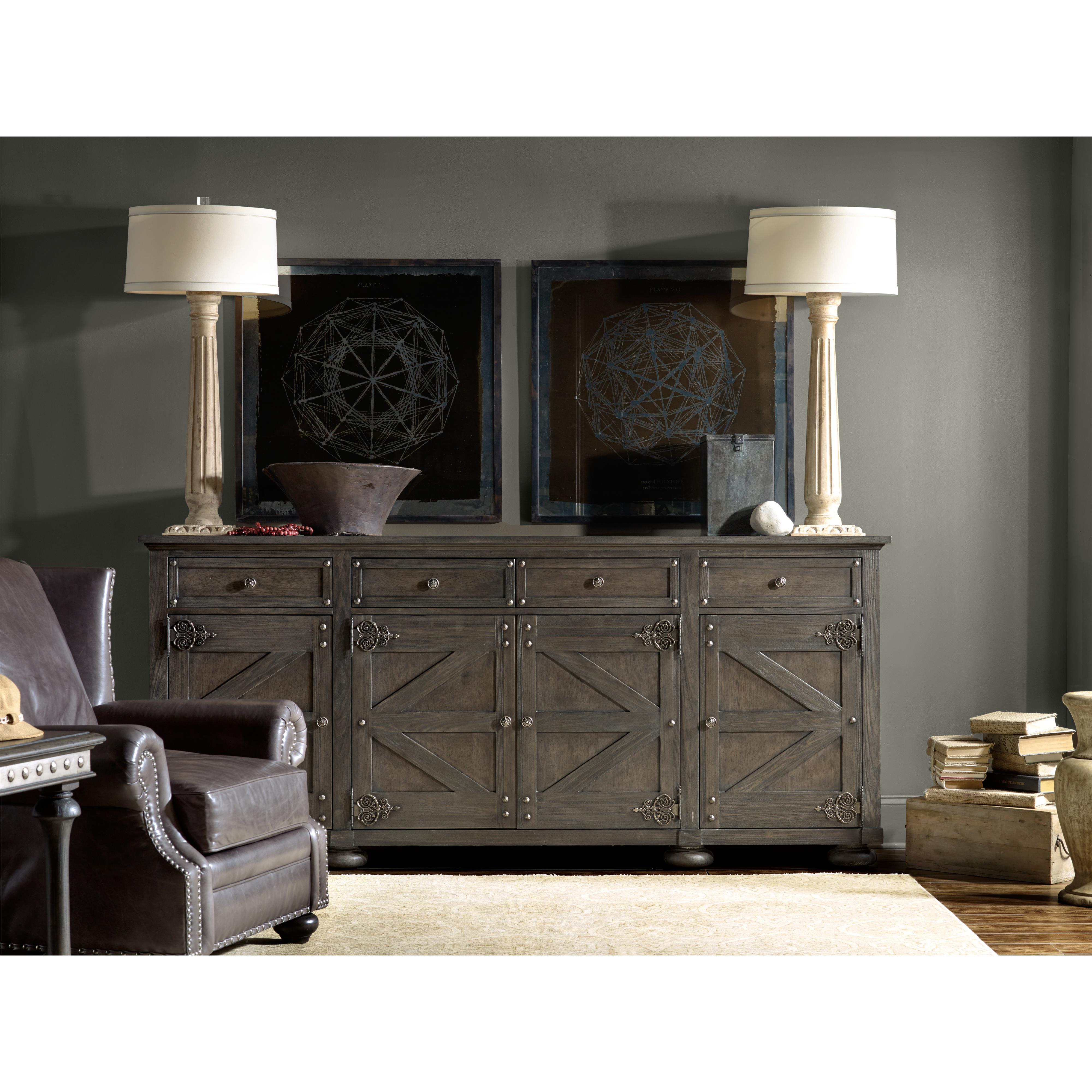 hooker furniture vintage west storage credenza with barn like door design fashion furniture. Black Bedroom Furniture Sets. Home Design Ideas