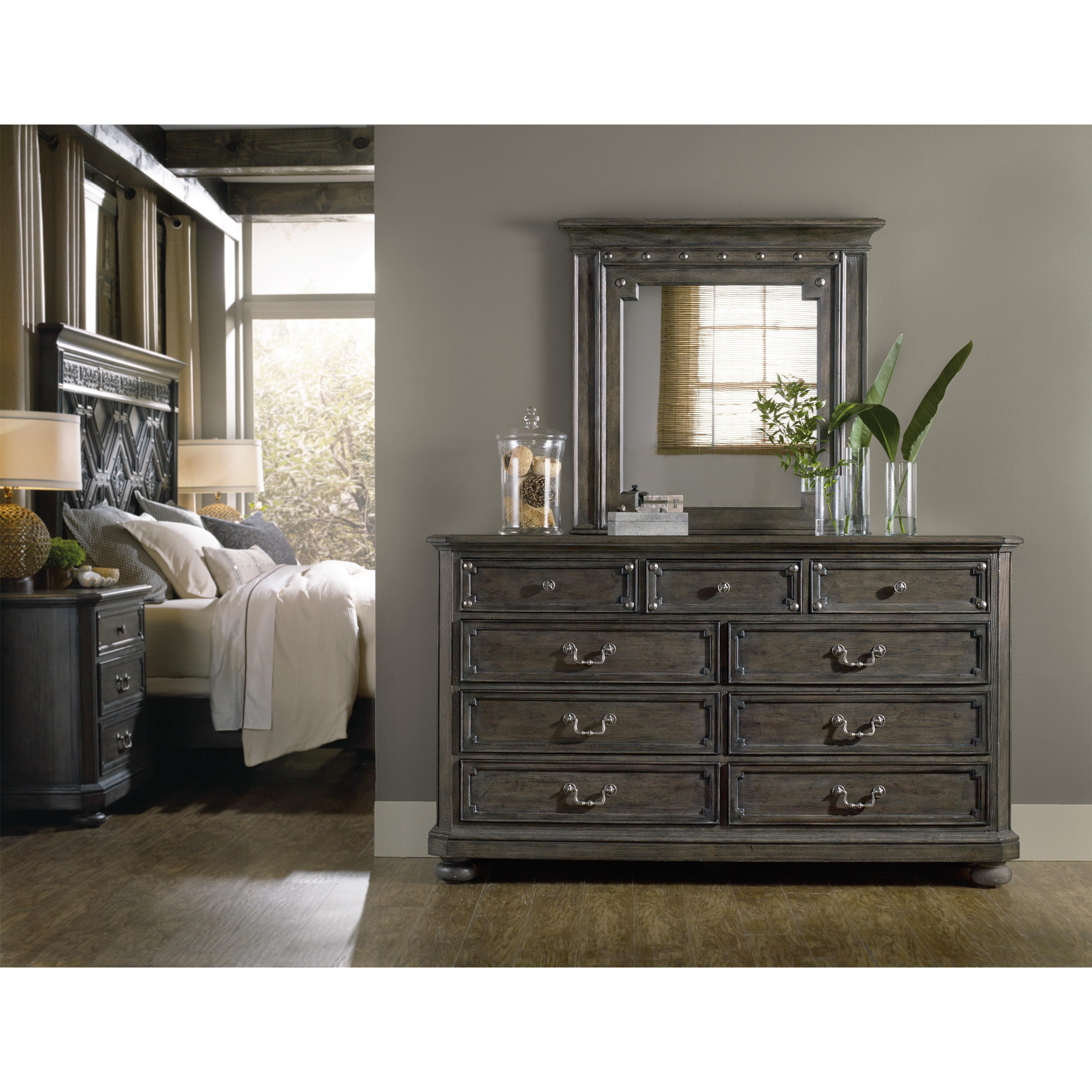 Hooker furniture vintage west 9 drawer dresser with bail for Bedroom furniture hardware