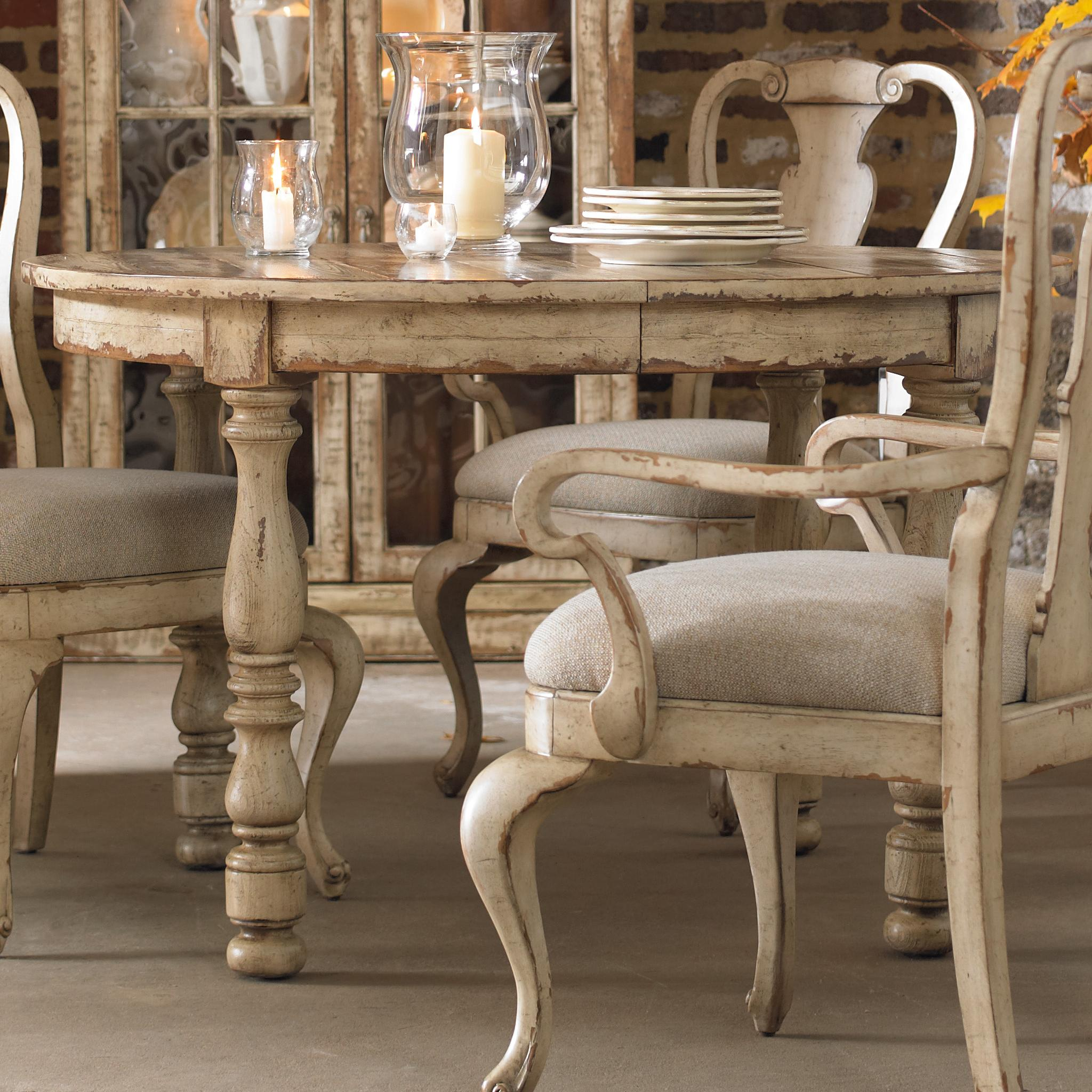 Hooker furniture wakefield round leg dining table with for Furniture dining table