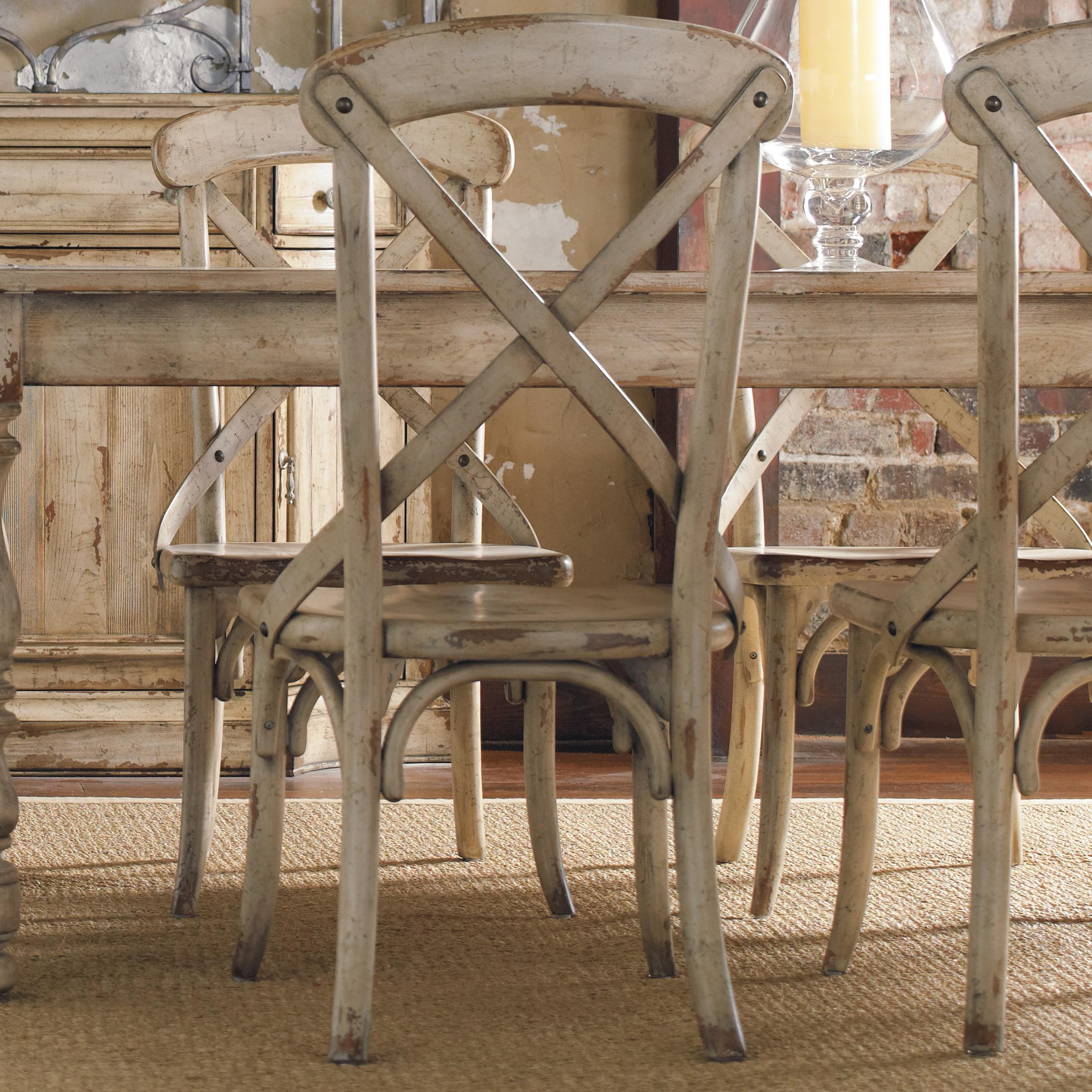 Hooker furniture wakefield x back distressed white dining for Side chairs for dining table