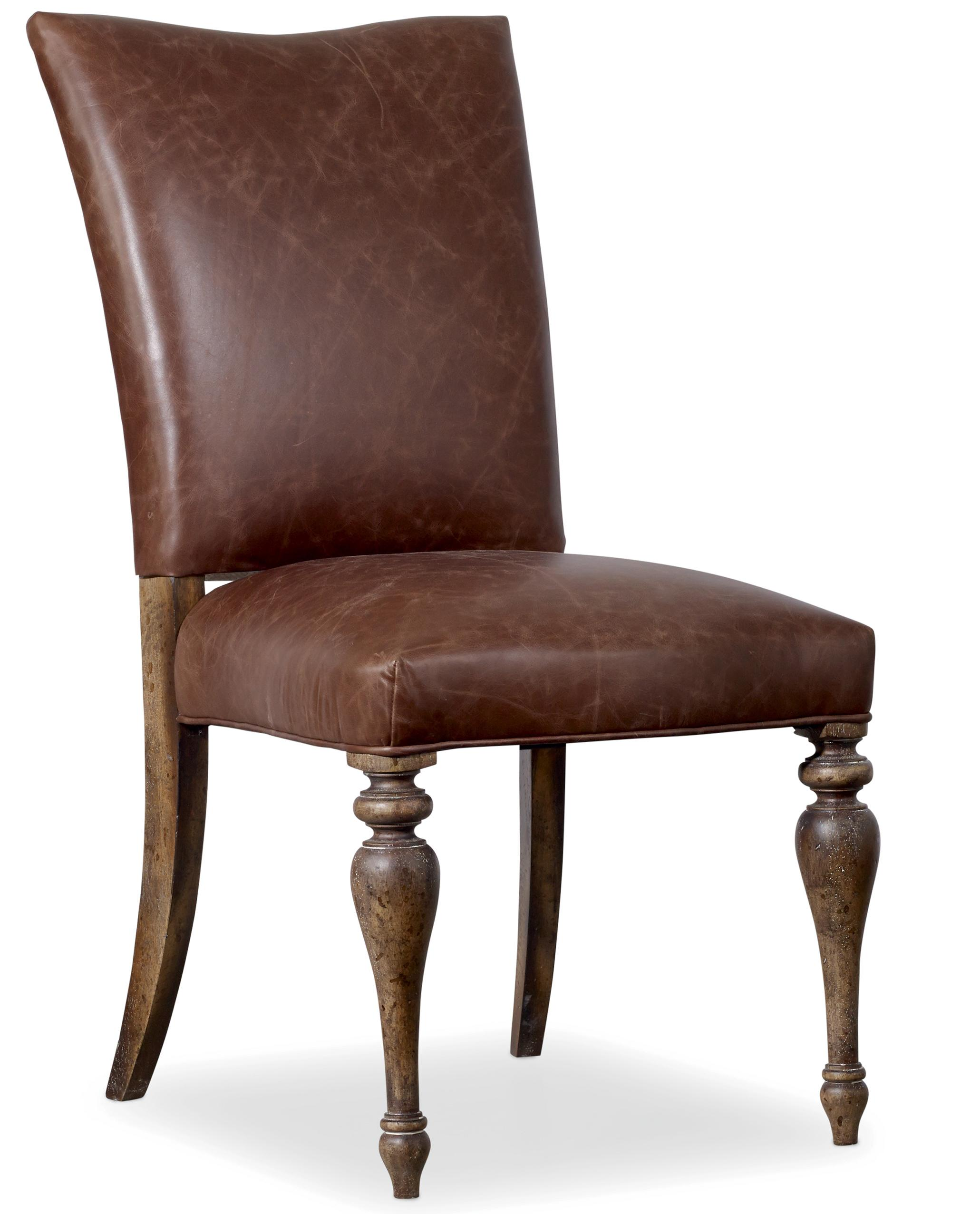 Hooker furniture willow bend upholstered leather side for Upholstered dining room side chairs