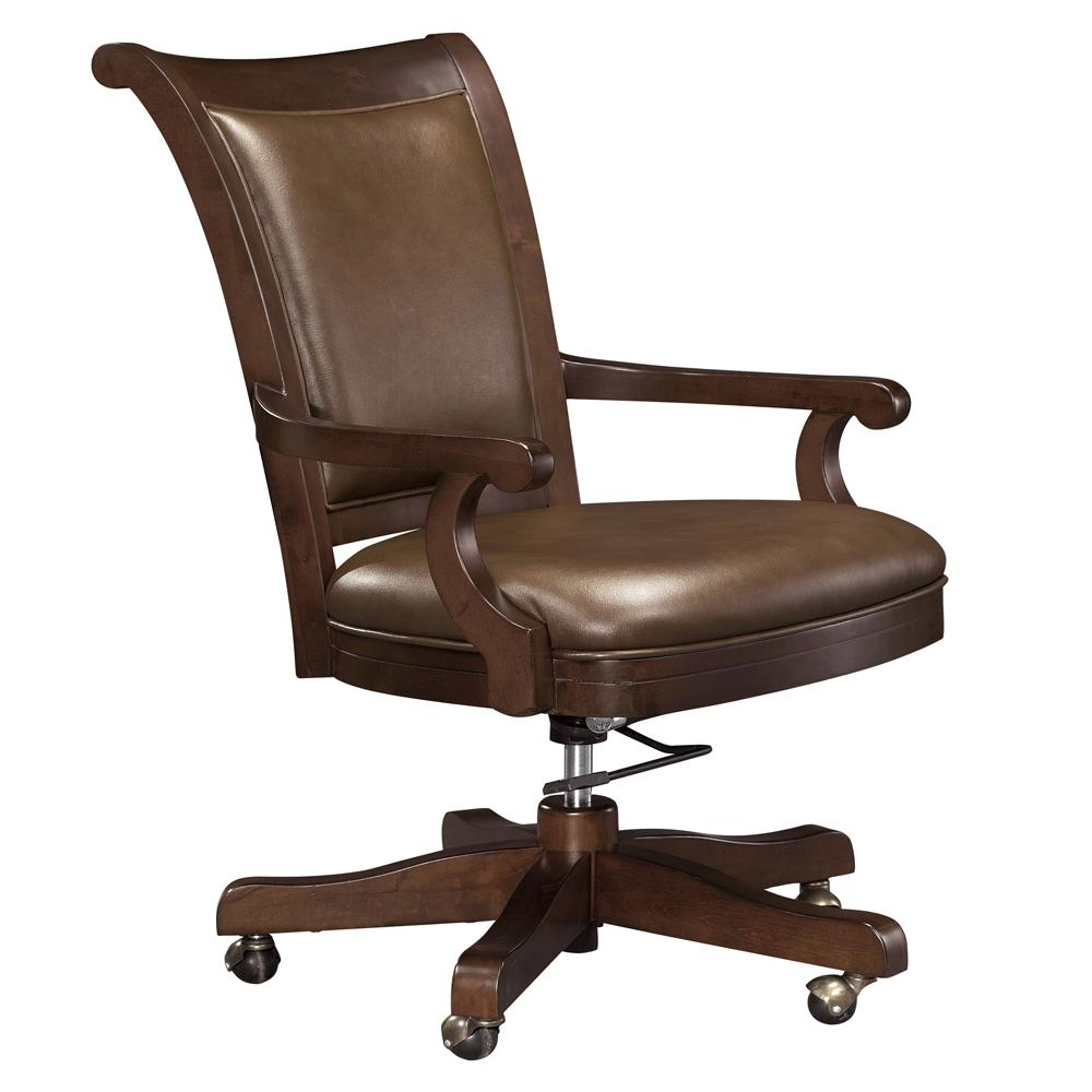 Howard miller ithaca upholstered office chair with casters for Upholstered desk chairs with wheels