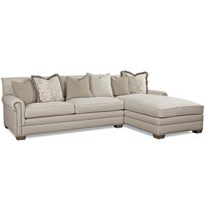 Geoffrey alexander 7107 traditional sectional sofa with for Small sectional sofa nashville