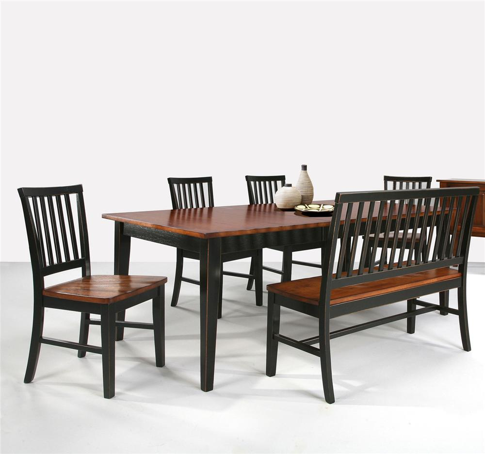 Arlington dining table with slat back bench slat back for Side chairs for dining table