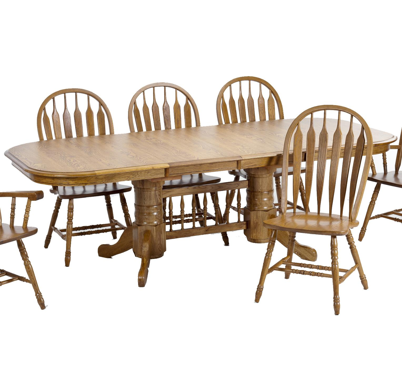 Intercon classic oak trestle dining table with 2 18 for Classic dining tables and chairs