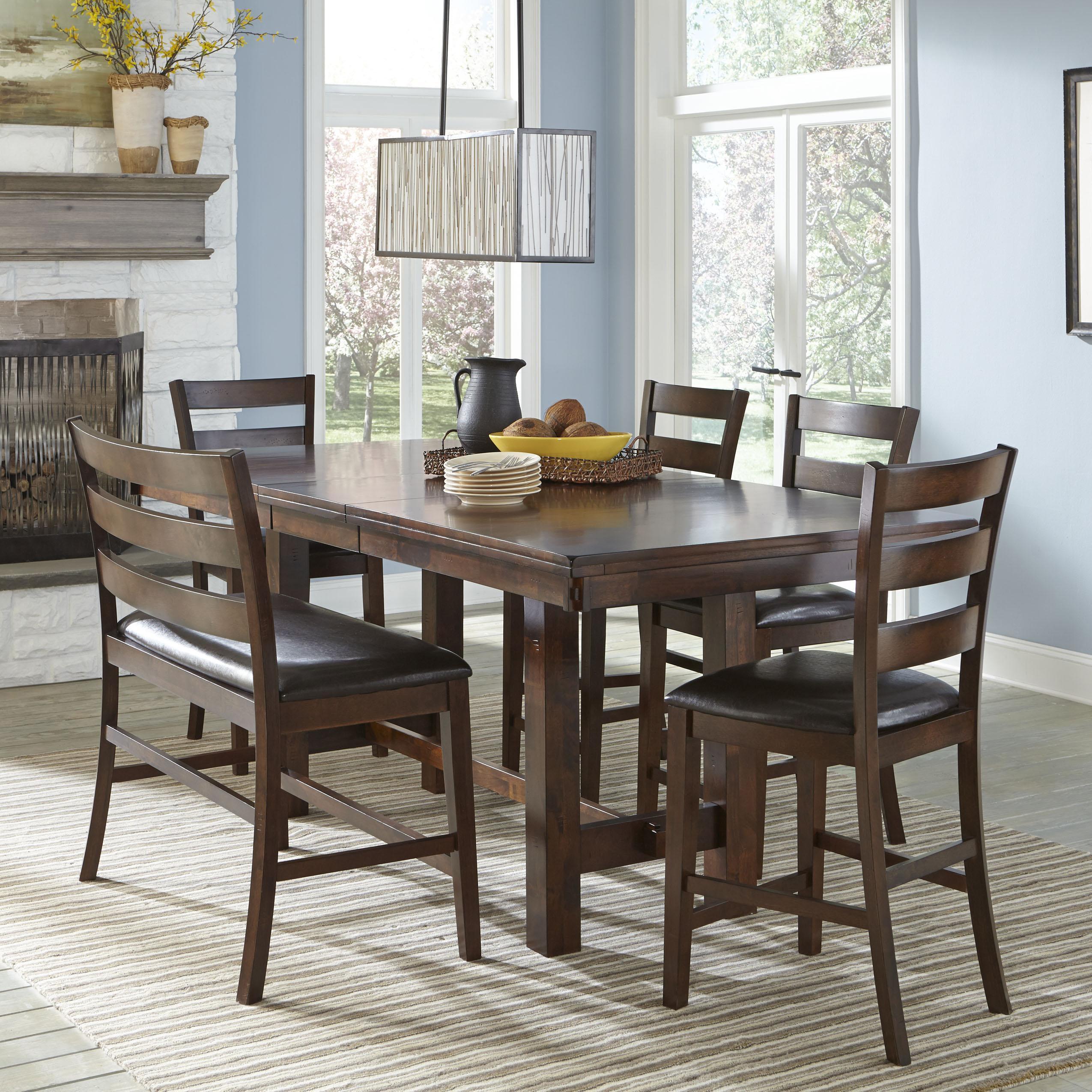 belfort select cabin creek counter height dining set with bench belfort furniture table. Black Bedroom Furniture Sets. Home Design Ideas