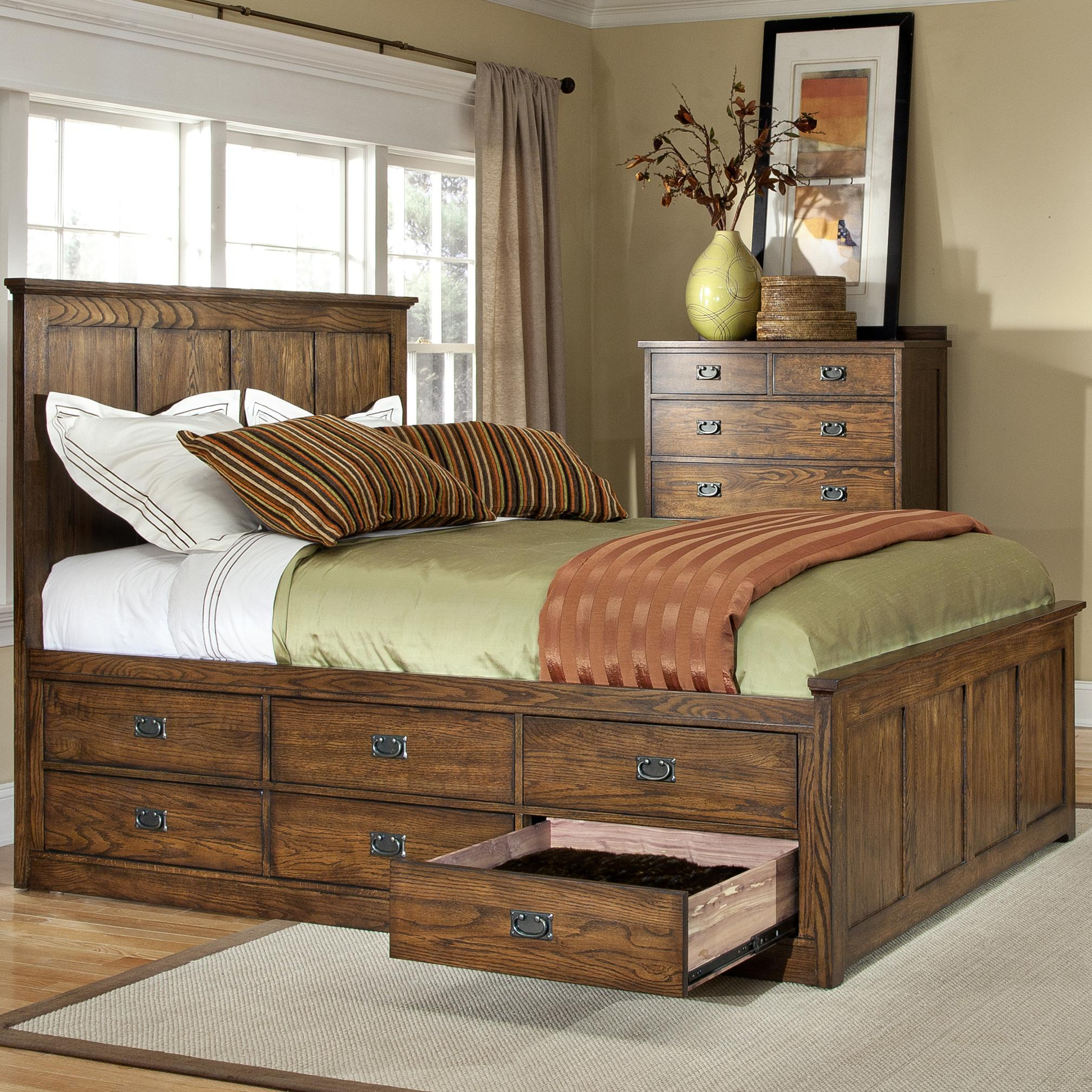 Intercon oak park mission queen bed with twelve underbed storage drawers wayside furniture for Bedroom set with storage drawers