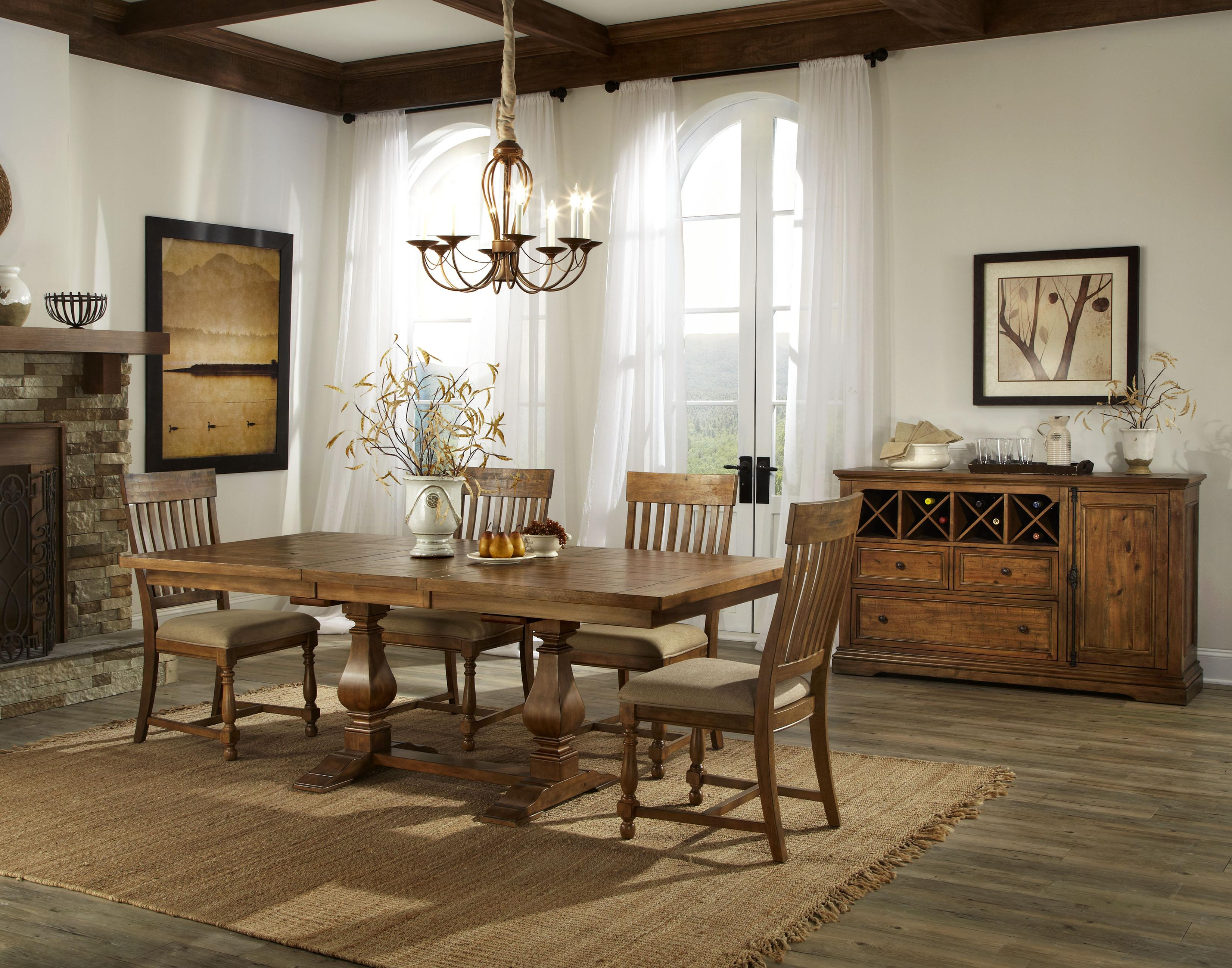 Rhone Dining Table and Chair Set with 4 Slat Back Chairs