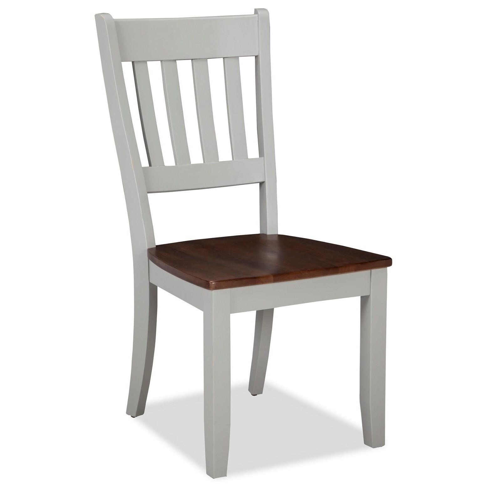Intercon small space two tone slat back dining side chair for Small side chair