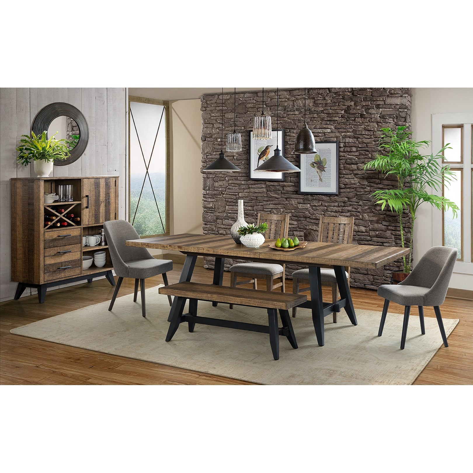 vfm signature urban rustic casual dining room group. Black Bedroom Furniture Sets. Home Design Ideas